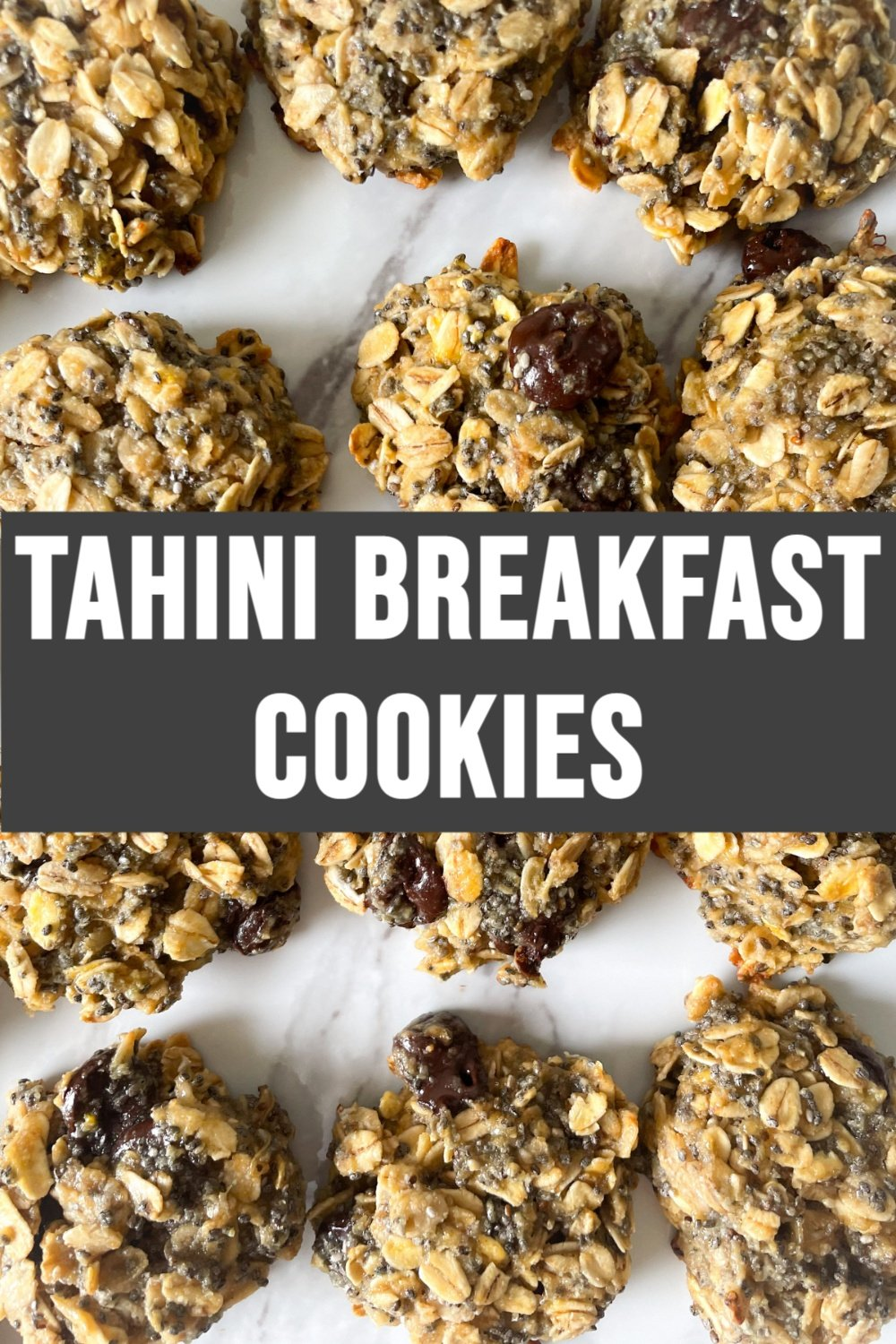 tahini breakfast cookies on white background with text overlay