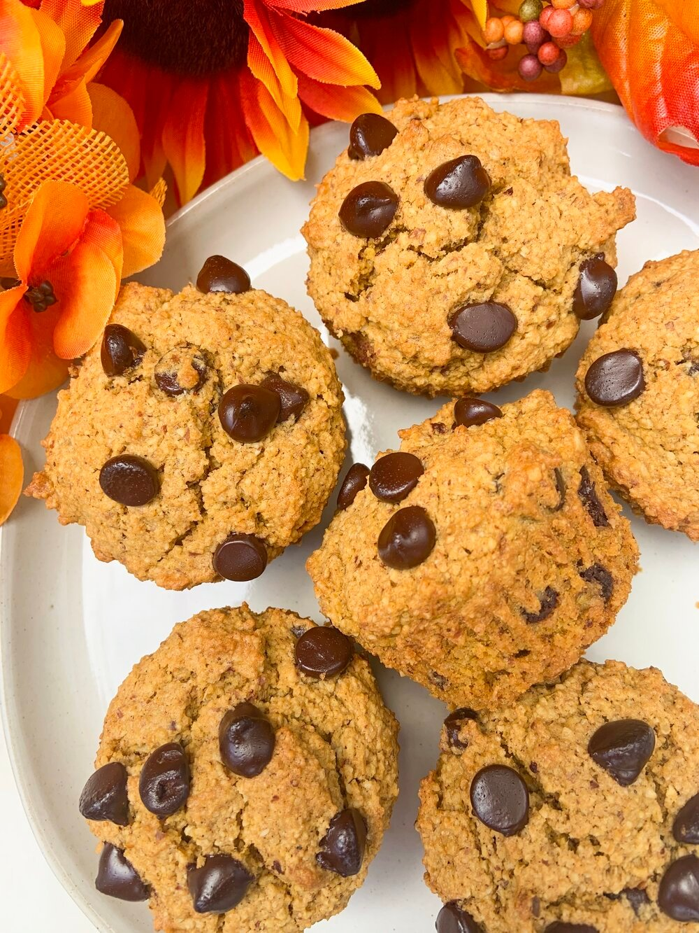 Pumpkin Chocolate Chip Muffins - These muffins are made with a combination of oat flour and almond flour to create the perfect moist texture. They are not too sweet and make the perfect accompaniment with an almond cappuccino sprinkled with pumpkin pie spice!