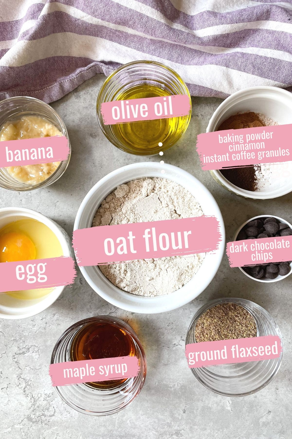 ingredients for oat flour muffins