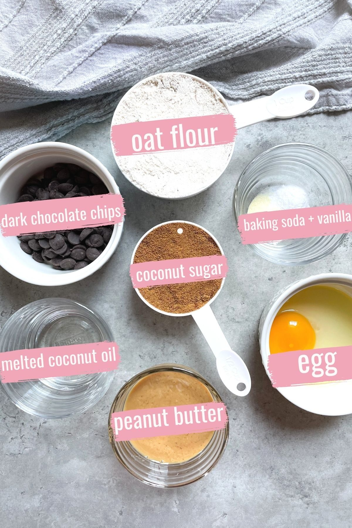 ingredients for oat flour chocolate chip cookies