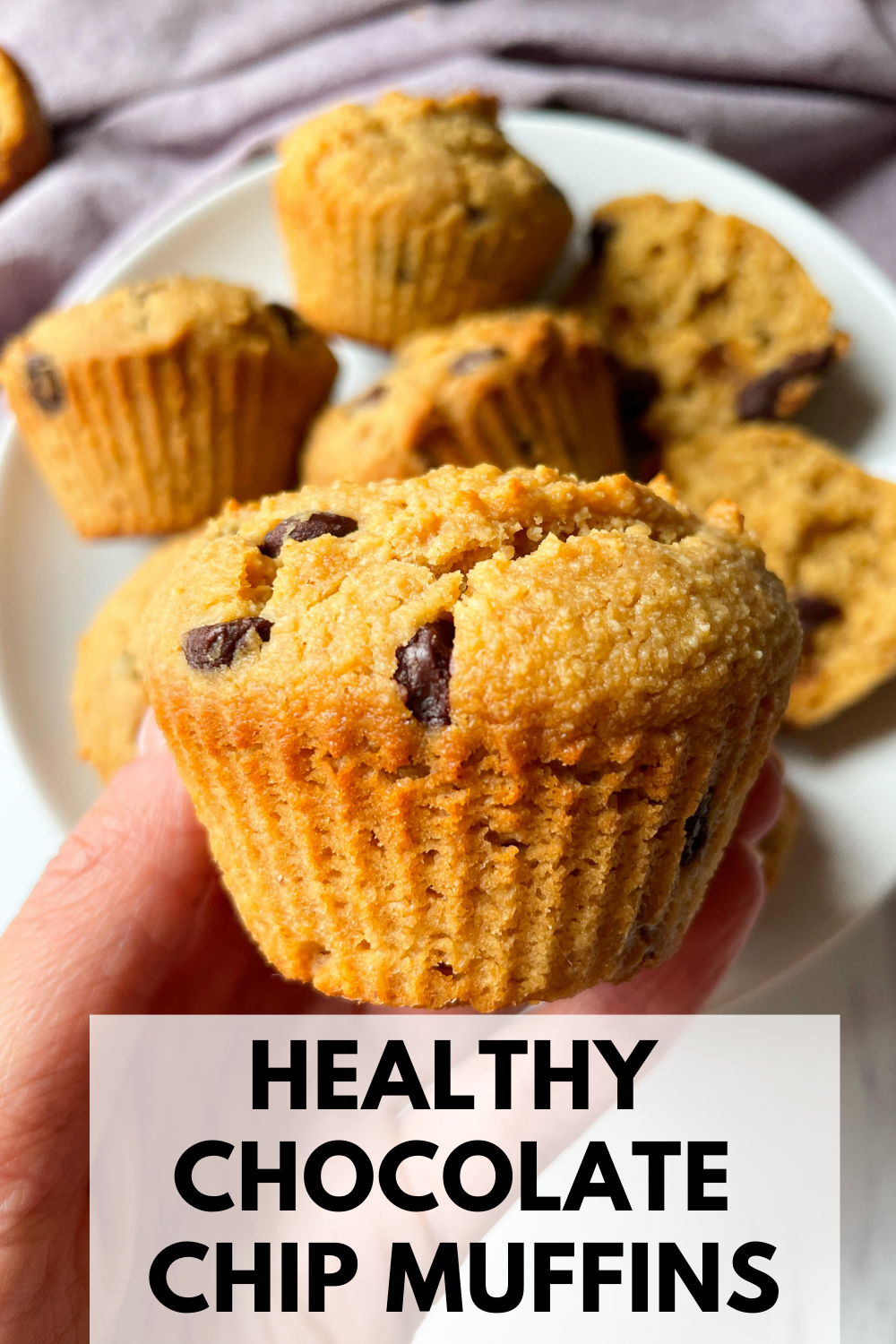 hand holding chocolate chip muffin with text overlay