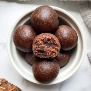 brownie bliss balls in white bowl