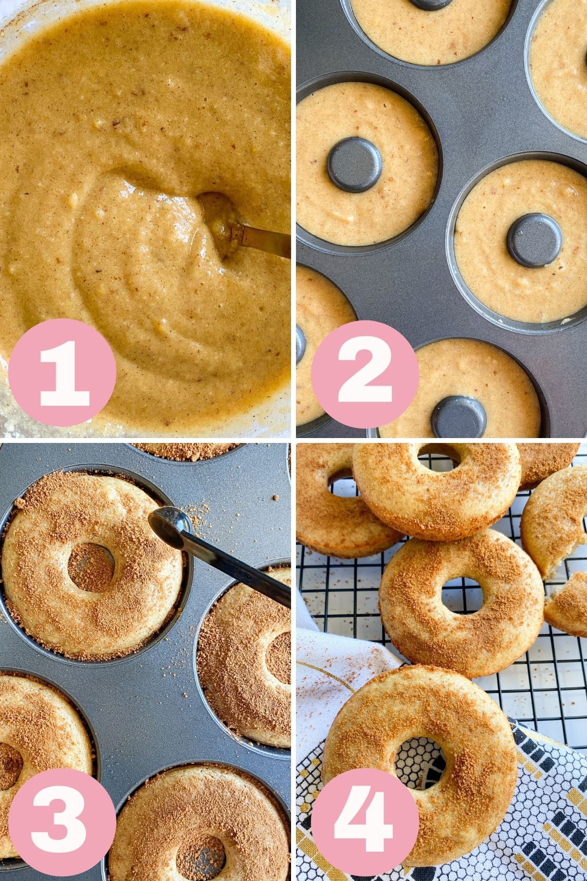 4 steps how to make baked donuts