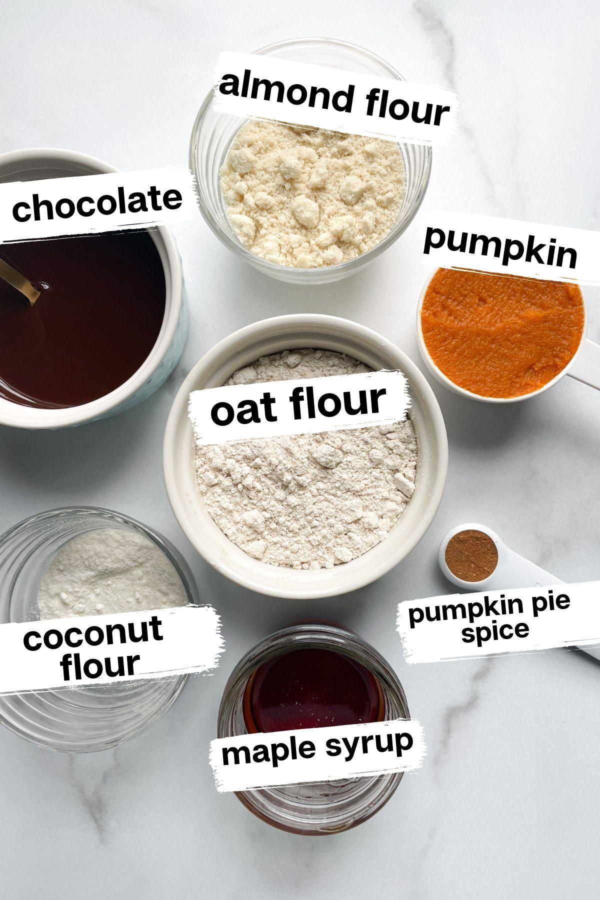 ingredients in bowls for pumpkin spice truffles
