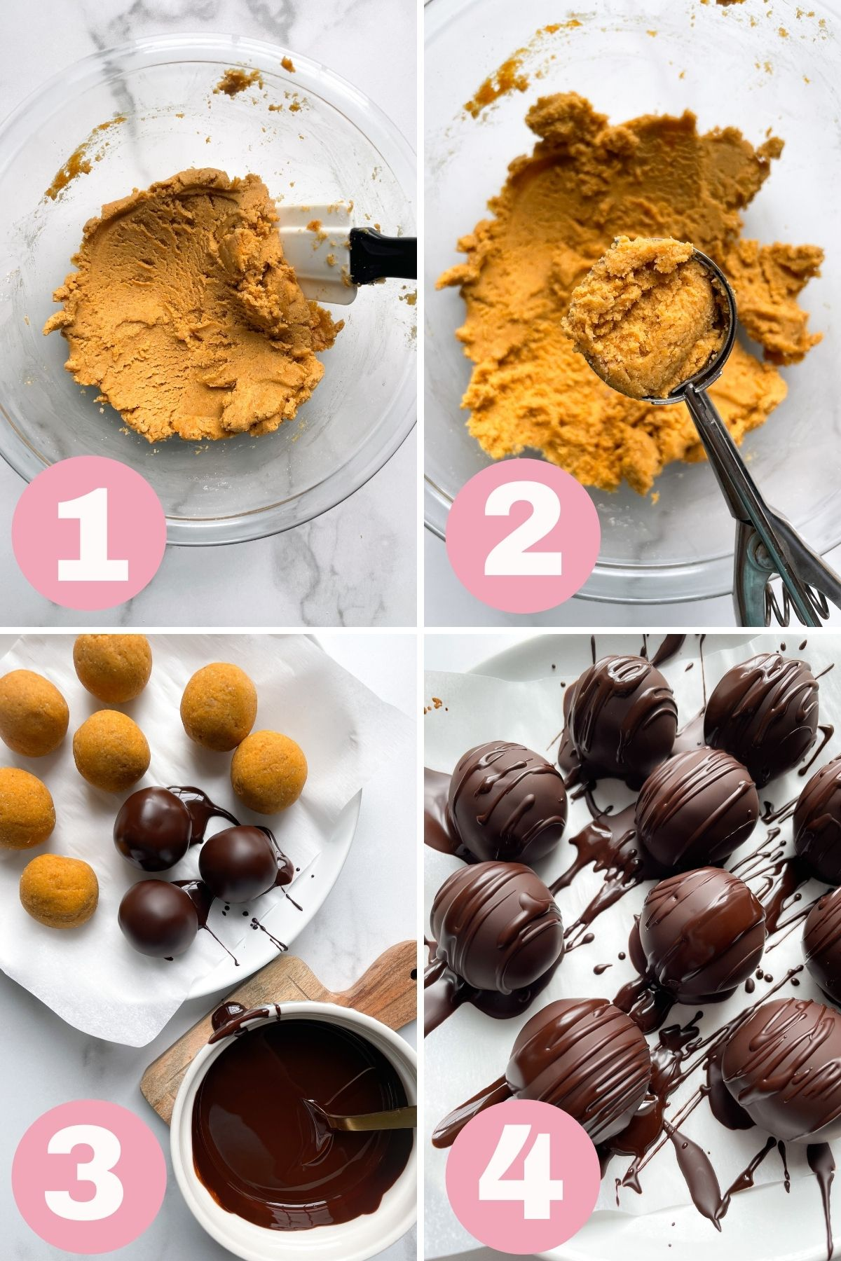 4 photo collage showing how to make truffles