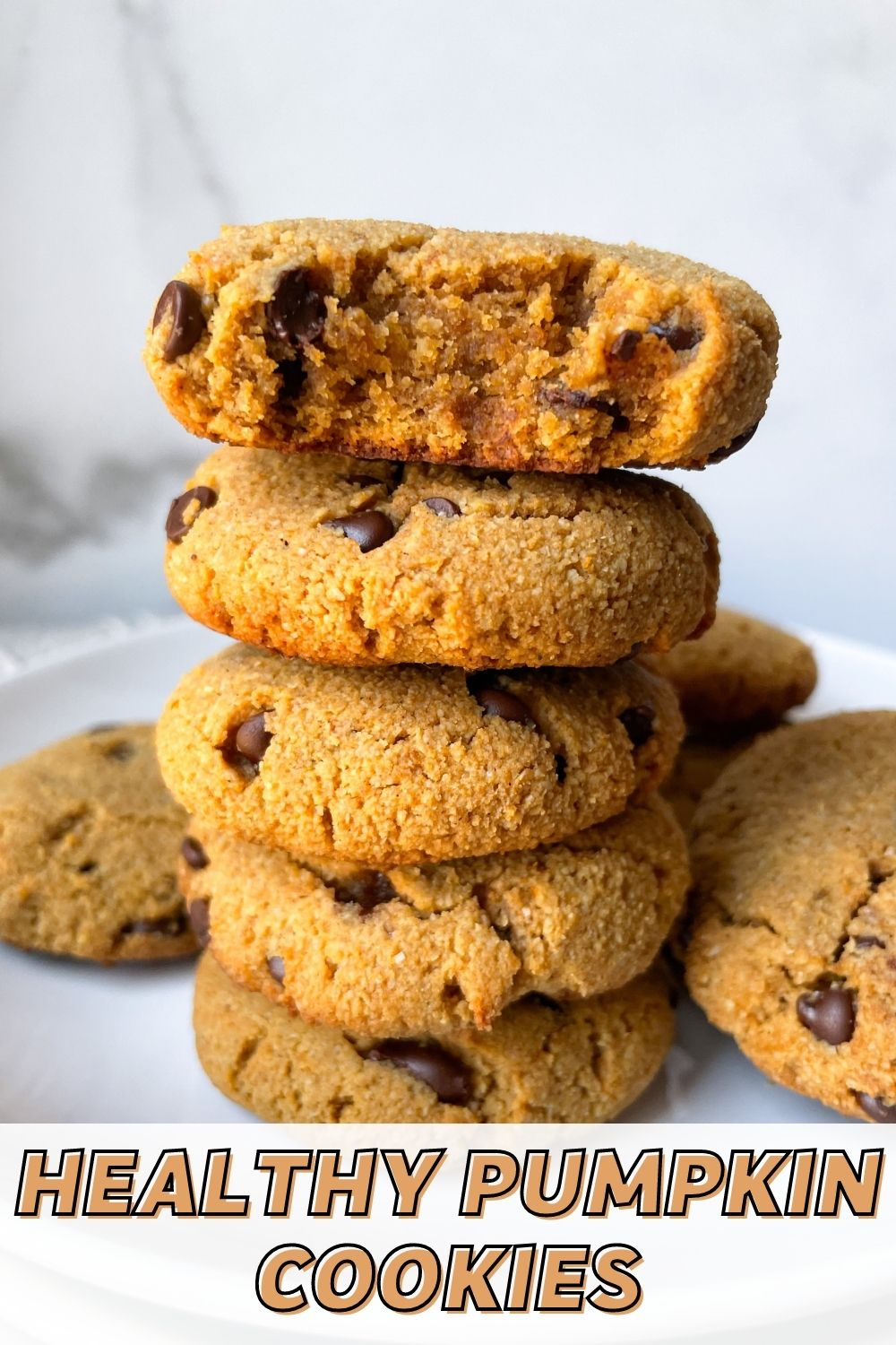 stacked cookies on white plates with text overlay