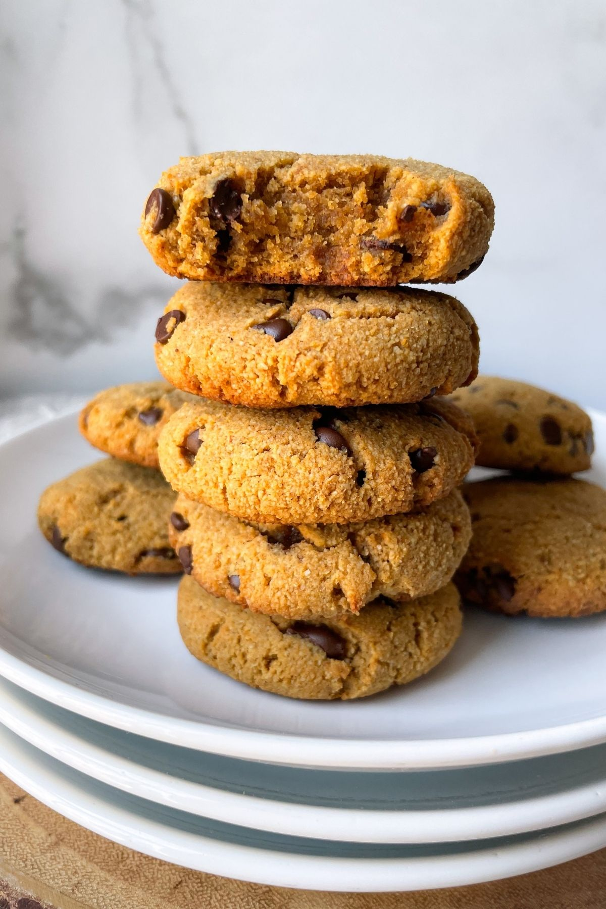 stacked cookies on white plates
