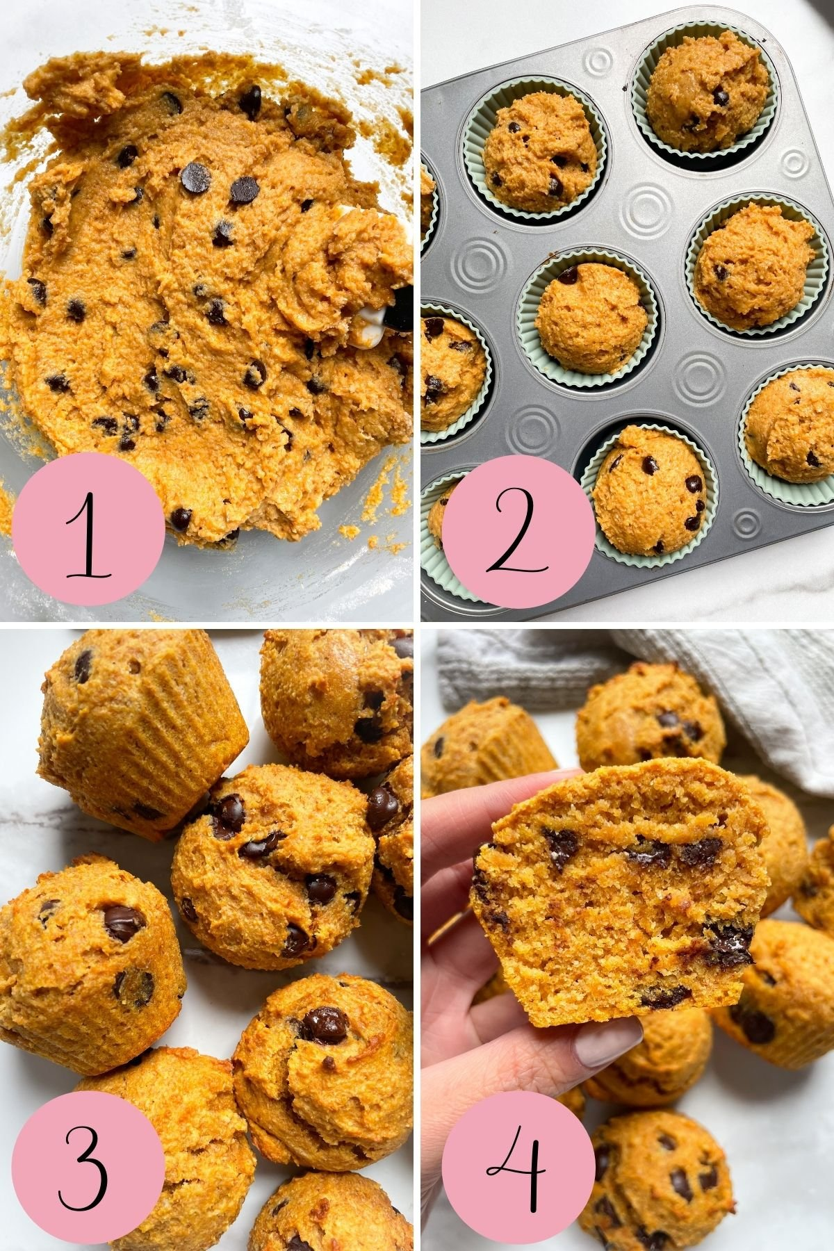 4 step process how to make healthy pumpkin muffins