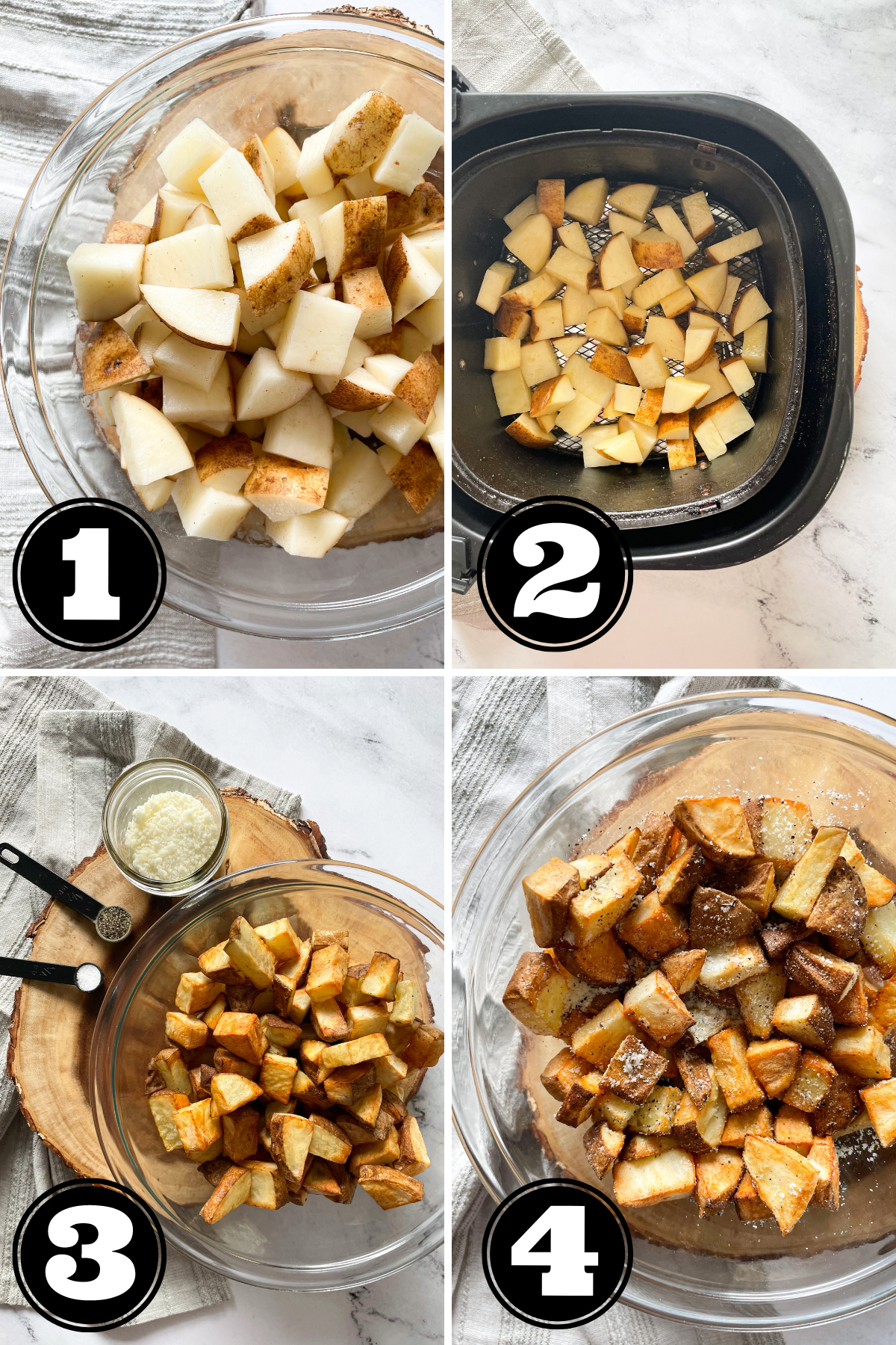 steps showing how to make air fryer potatoes