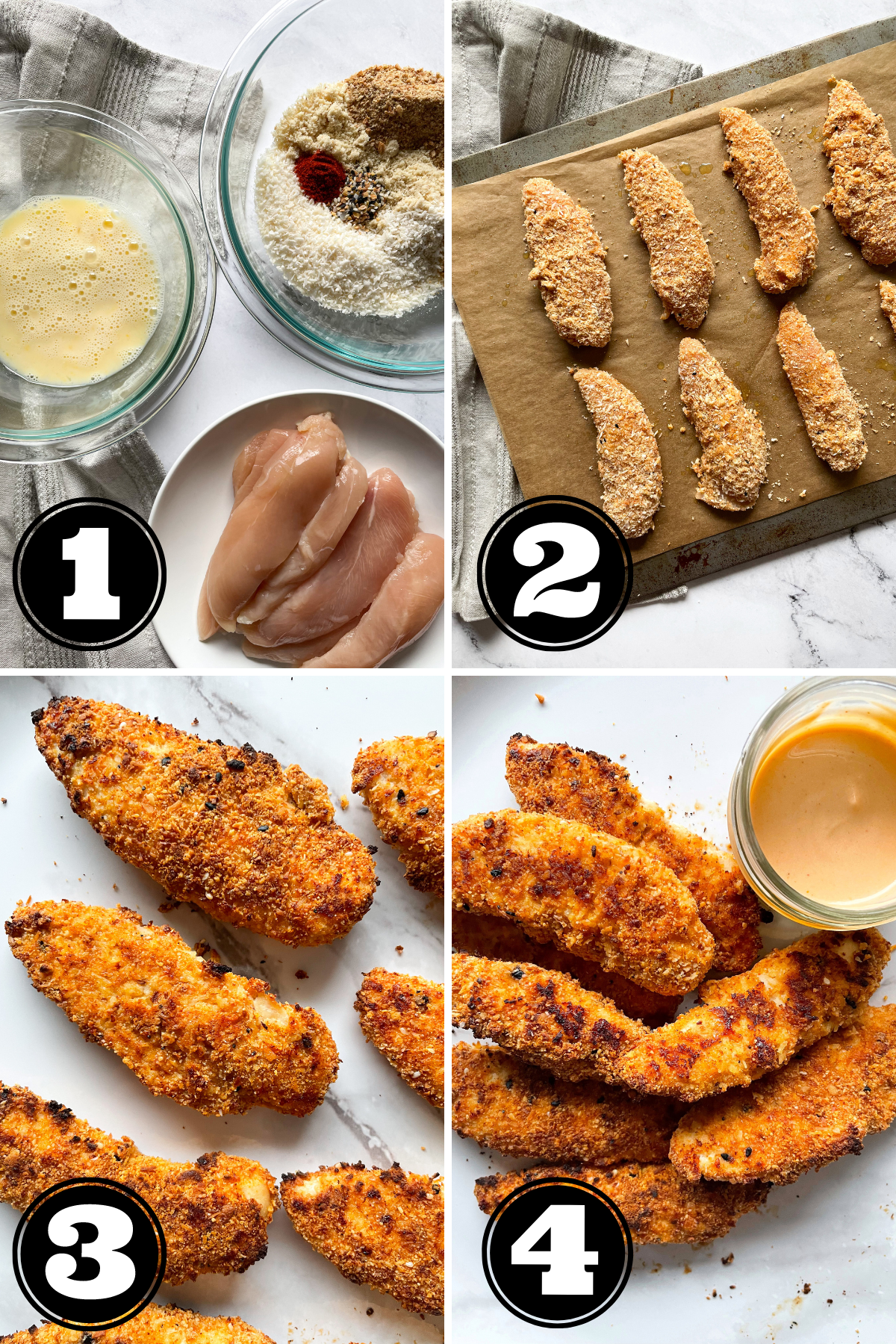 step by step guide to making baked chicken tenders