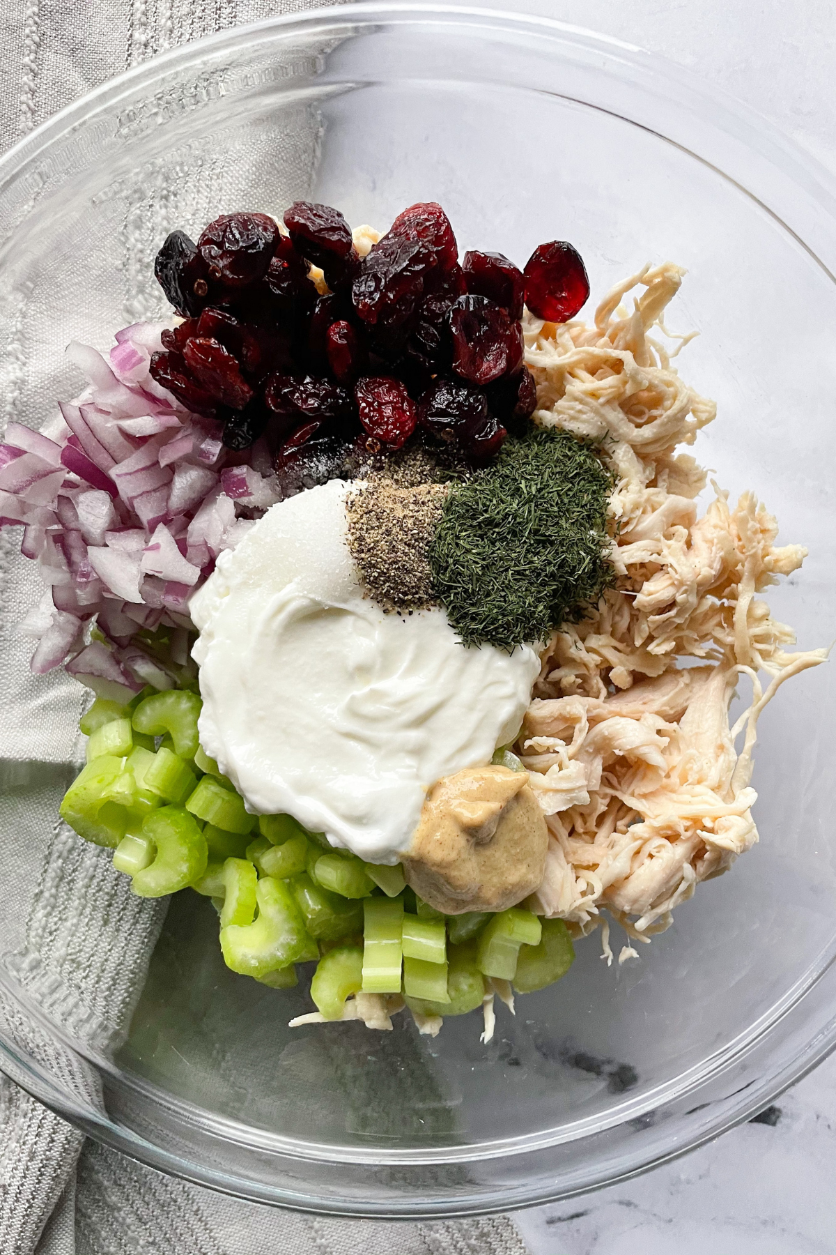 Ingredients for Healthy Chicken Salad in a bowl