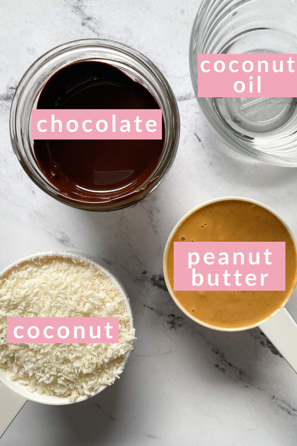 labeled ingredients for no bake cookie recipe
