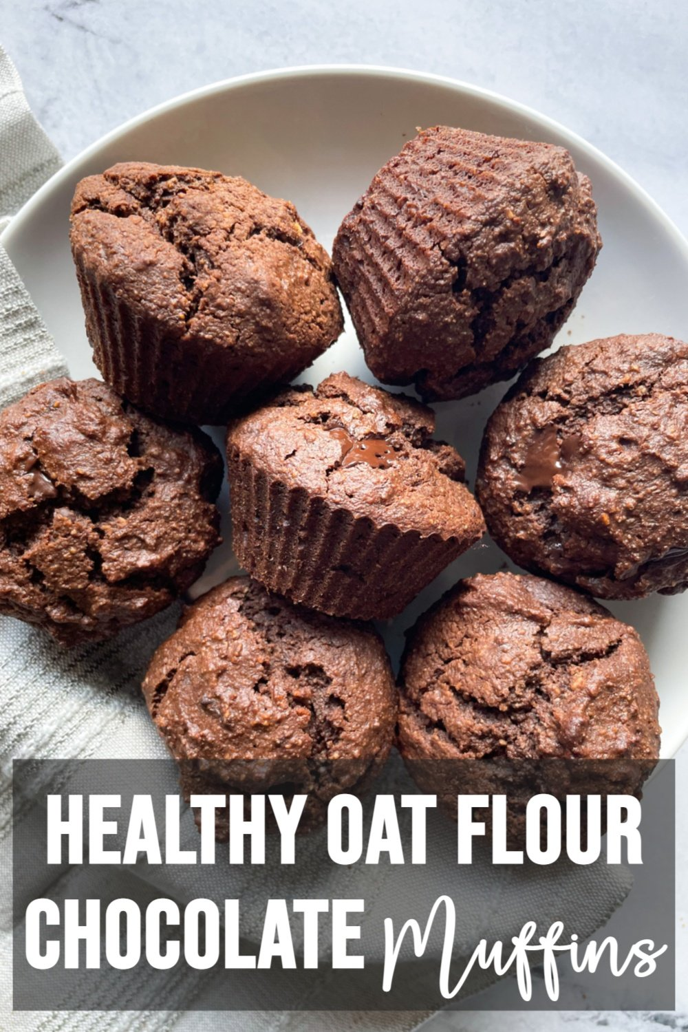 healthy chocolate muffins on white plate with text overlay