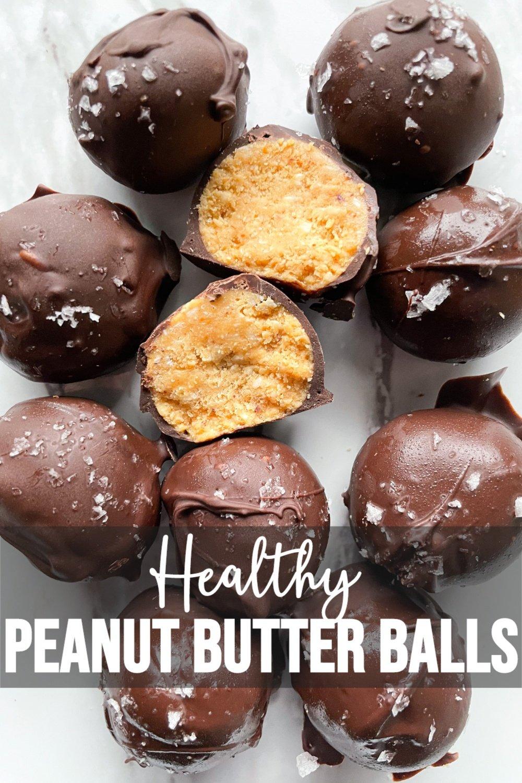 No Bake Peanut Butter Balls cut in half