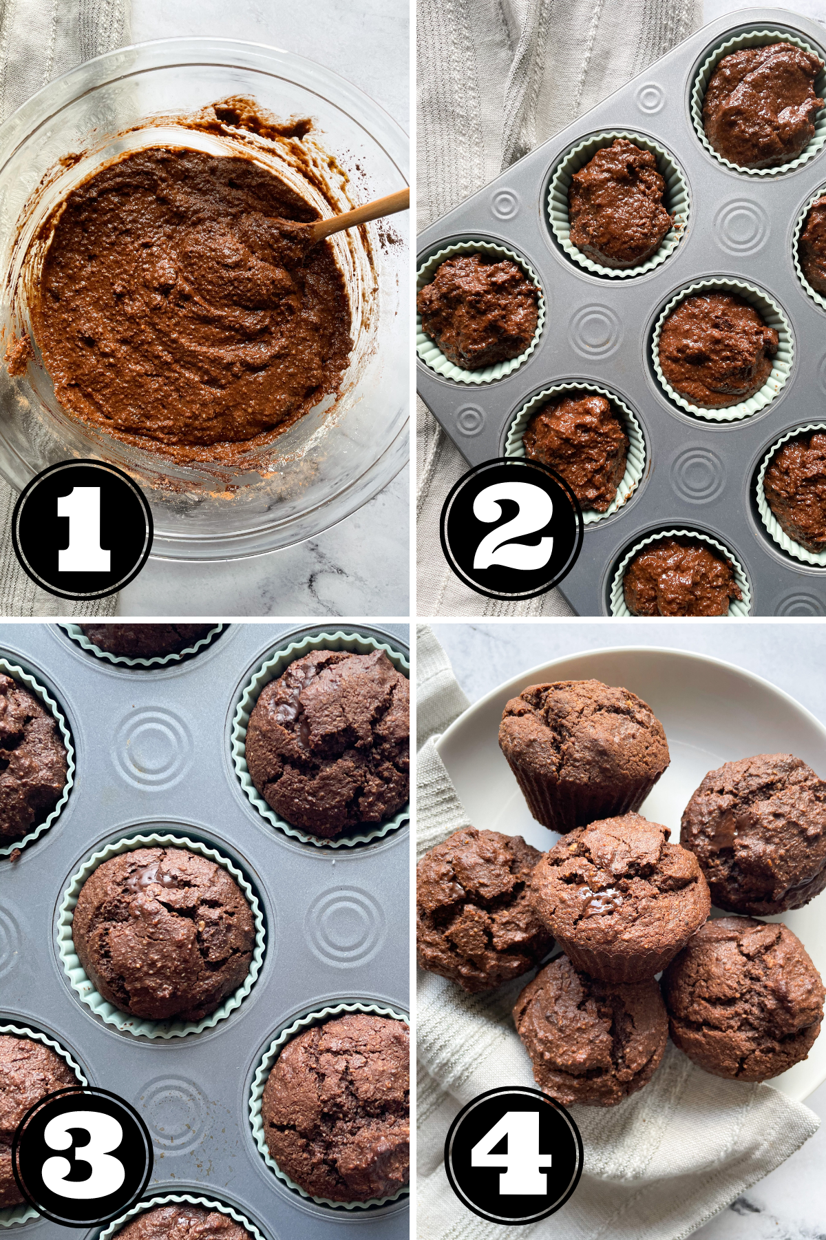 4 step process photo showing how to make healthy chocolate muffins
