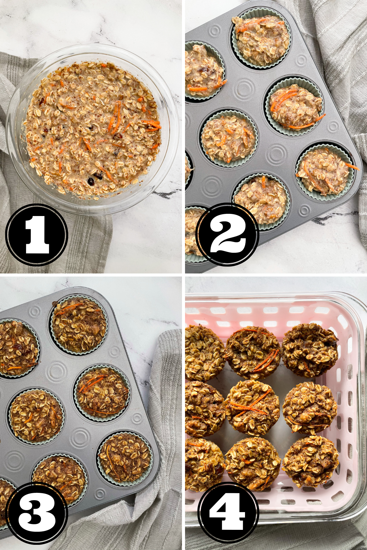 Step by Step How To Make Carrot Cake Baked Oatmeal Cups