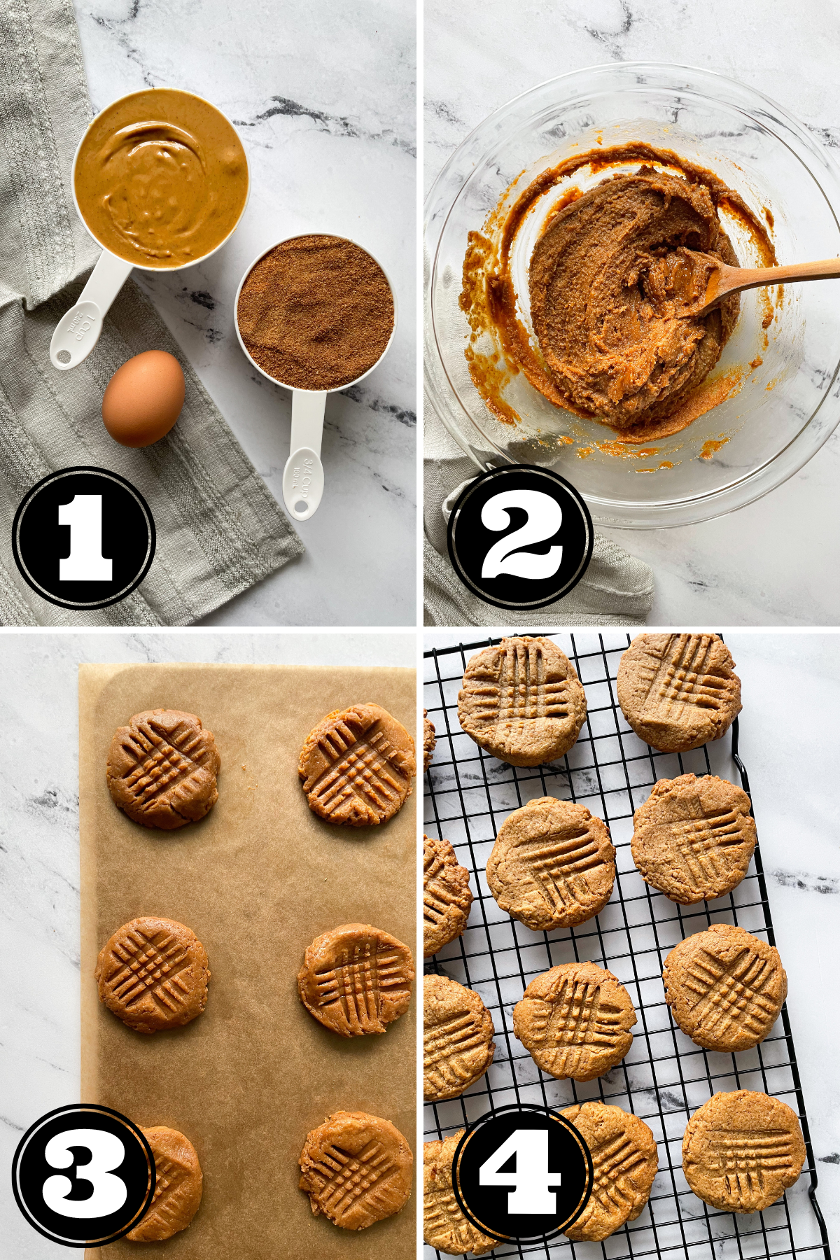 step by step photo of how to make peanut butter cookies