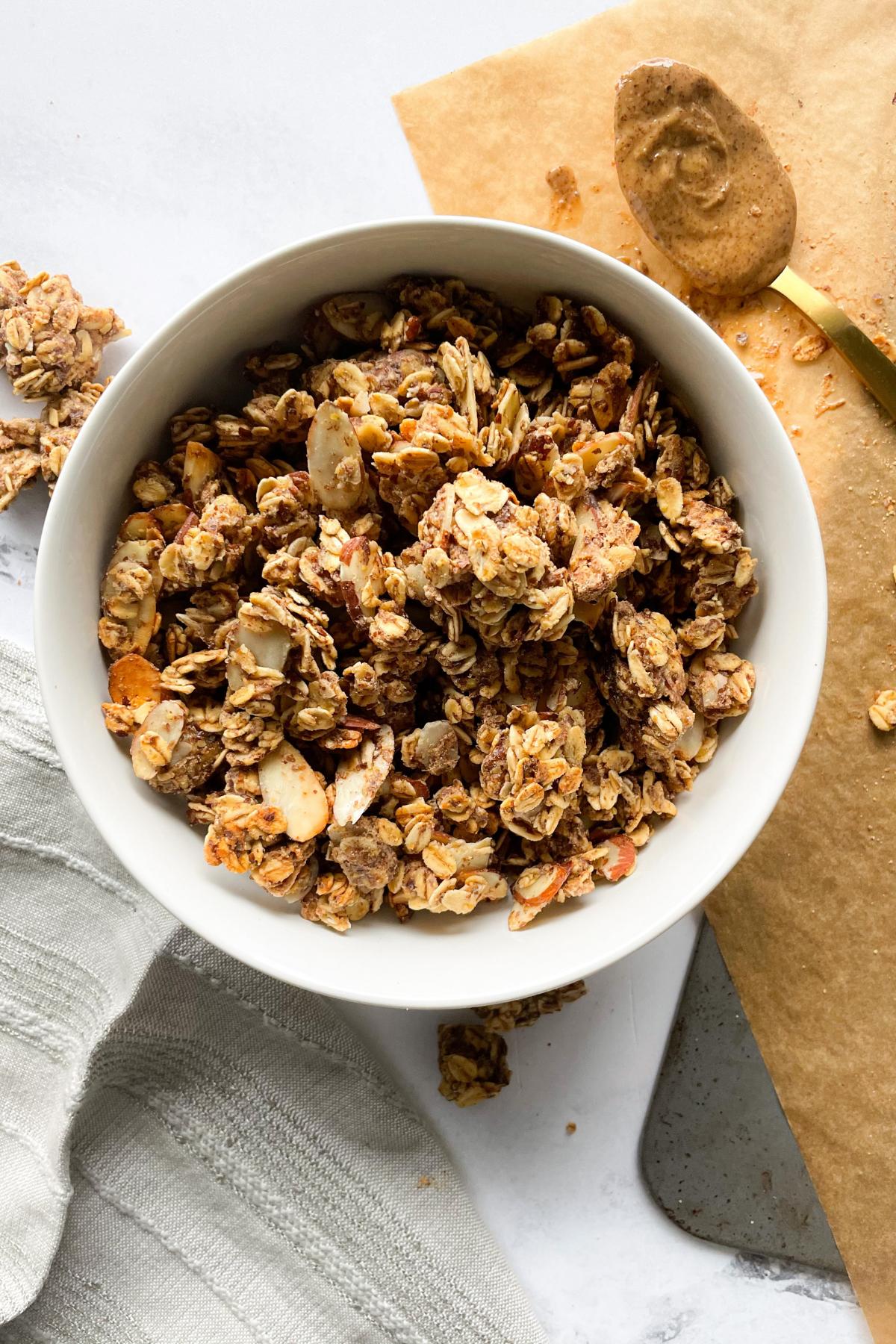 almond butter granola in white bowl