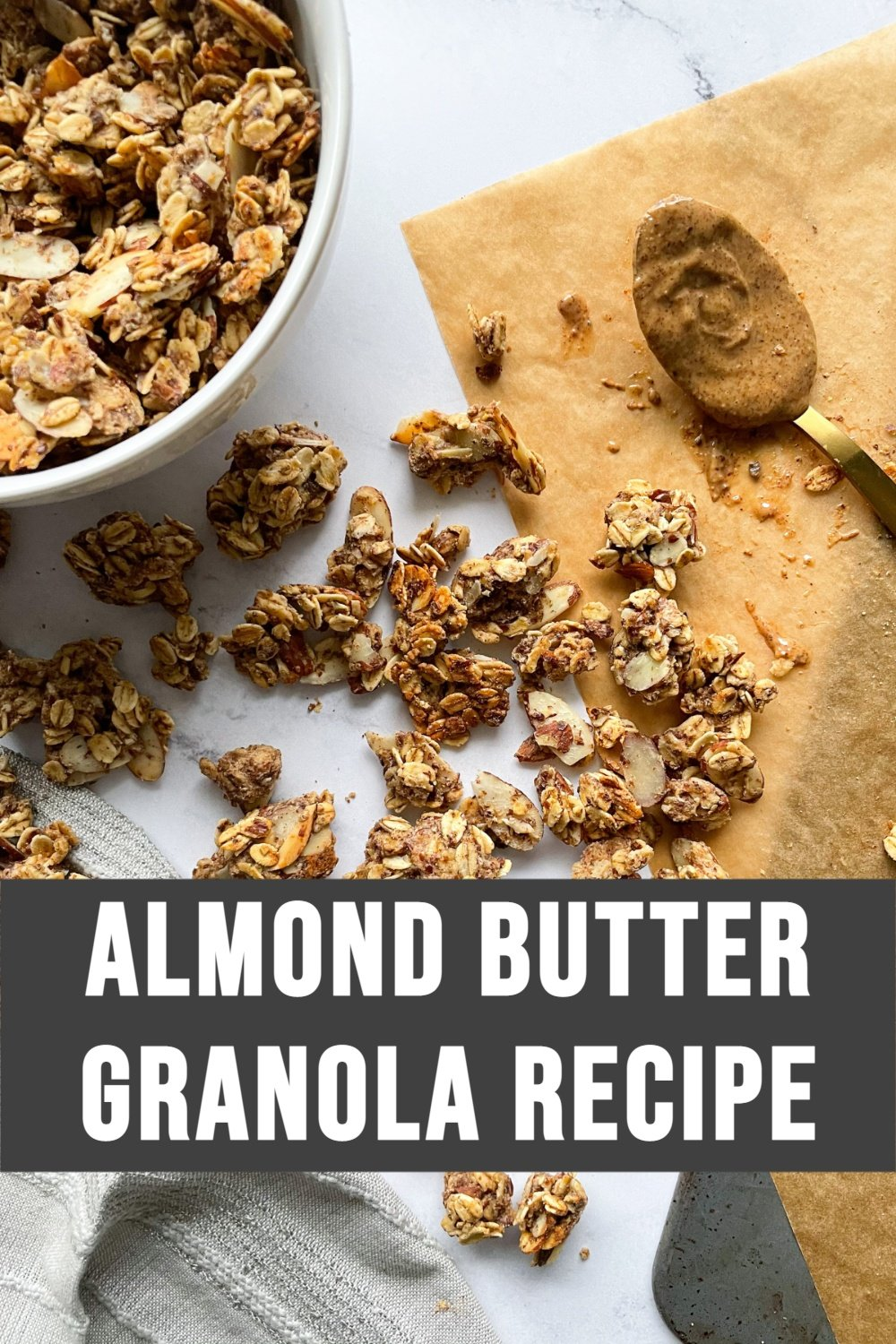 almond butter granola with text overlay