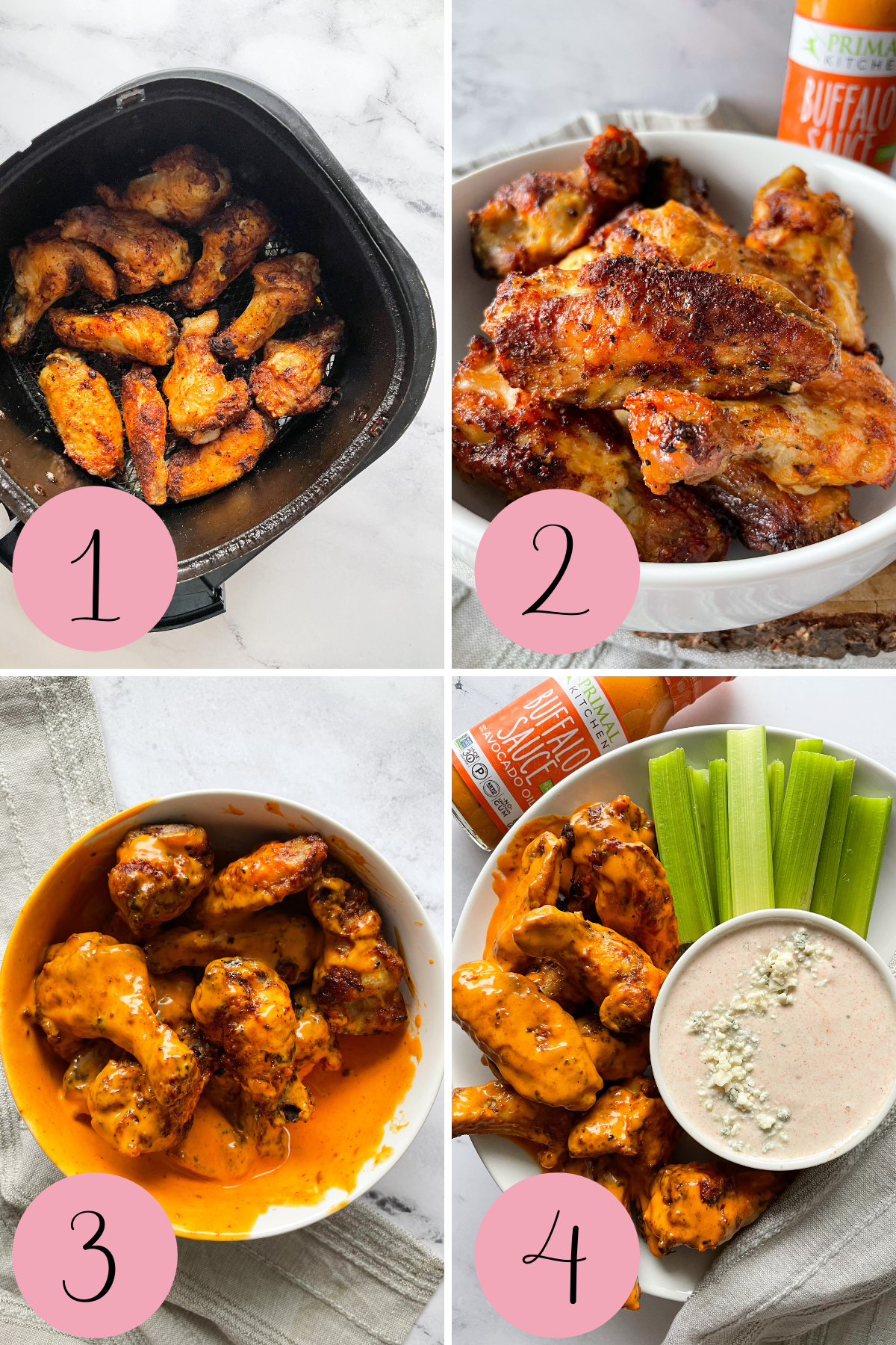 4 step process how to make air fryer buffalo wings