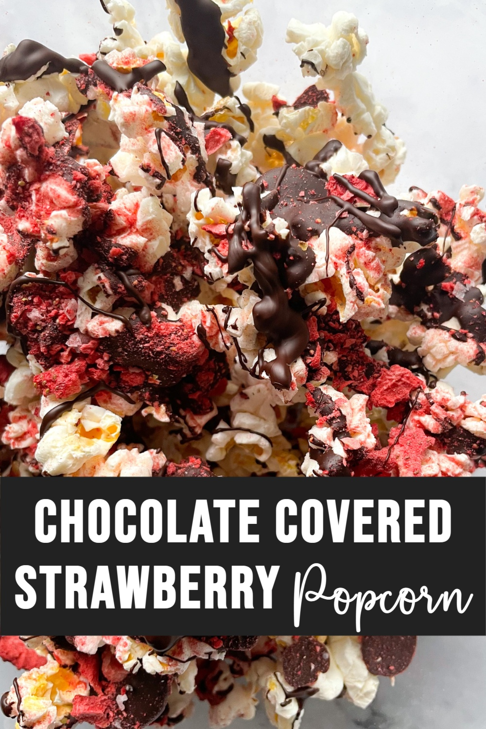 Chocolate Covered Strawberry Popcorn in Bowl with Text Overlay