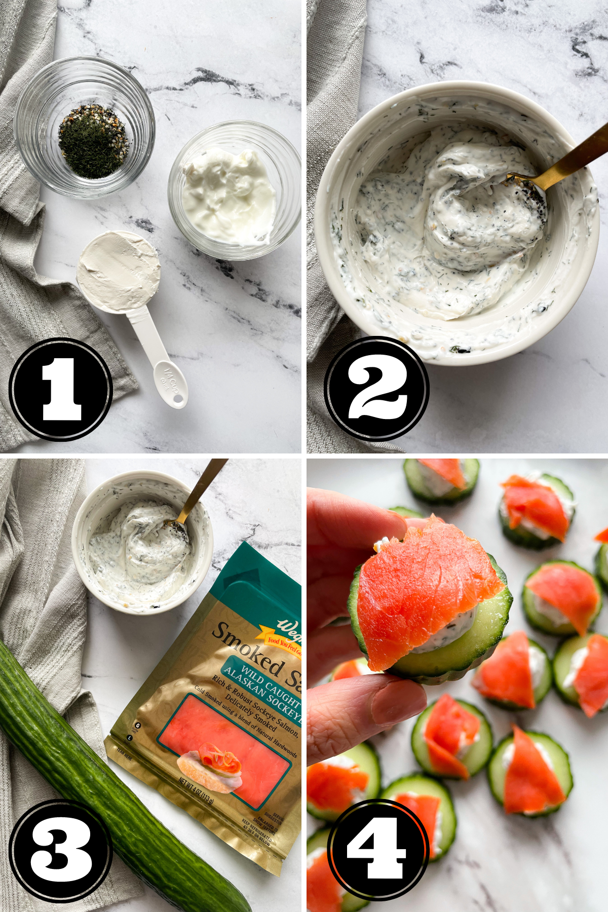 step by step how to make cucumber bites appetizer