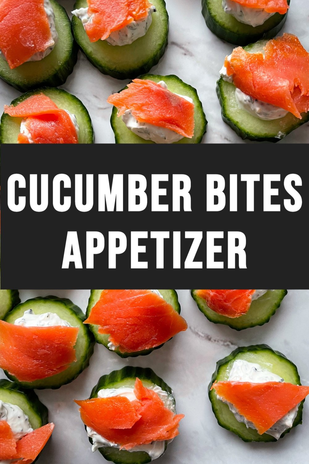 Cucumber Bites Appetizer On White Background with Text Overlay