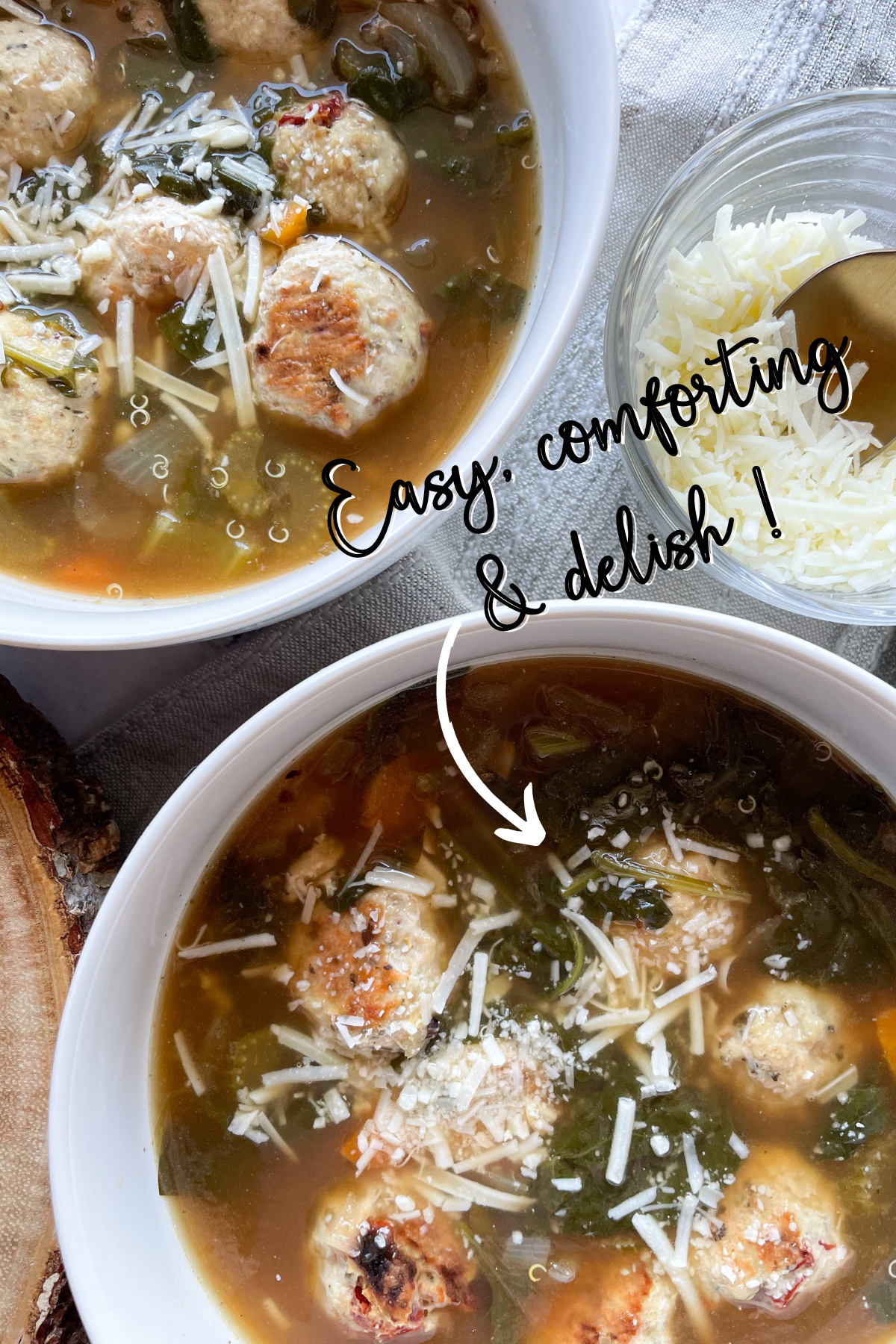 Healthy Italian Wedding Soup in 2 White Bowls with Text Overlay
