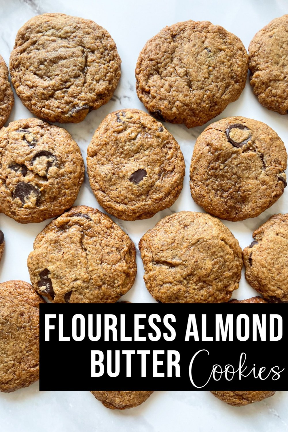 flourless almond butter cookies on white plate with text overlay
