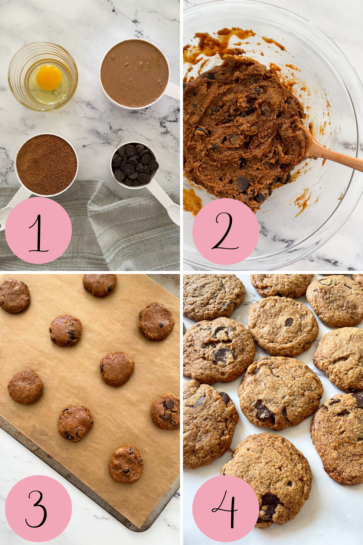 step by step photo of flourless almond butter cookies