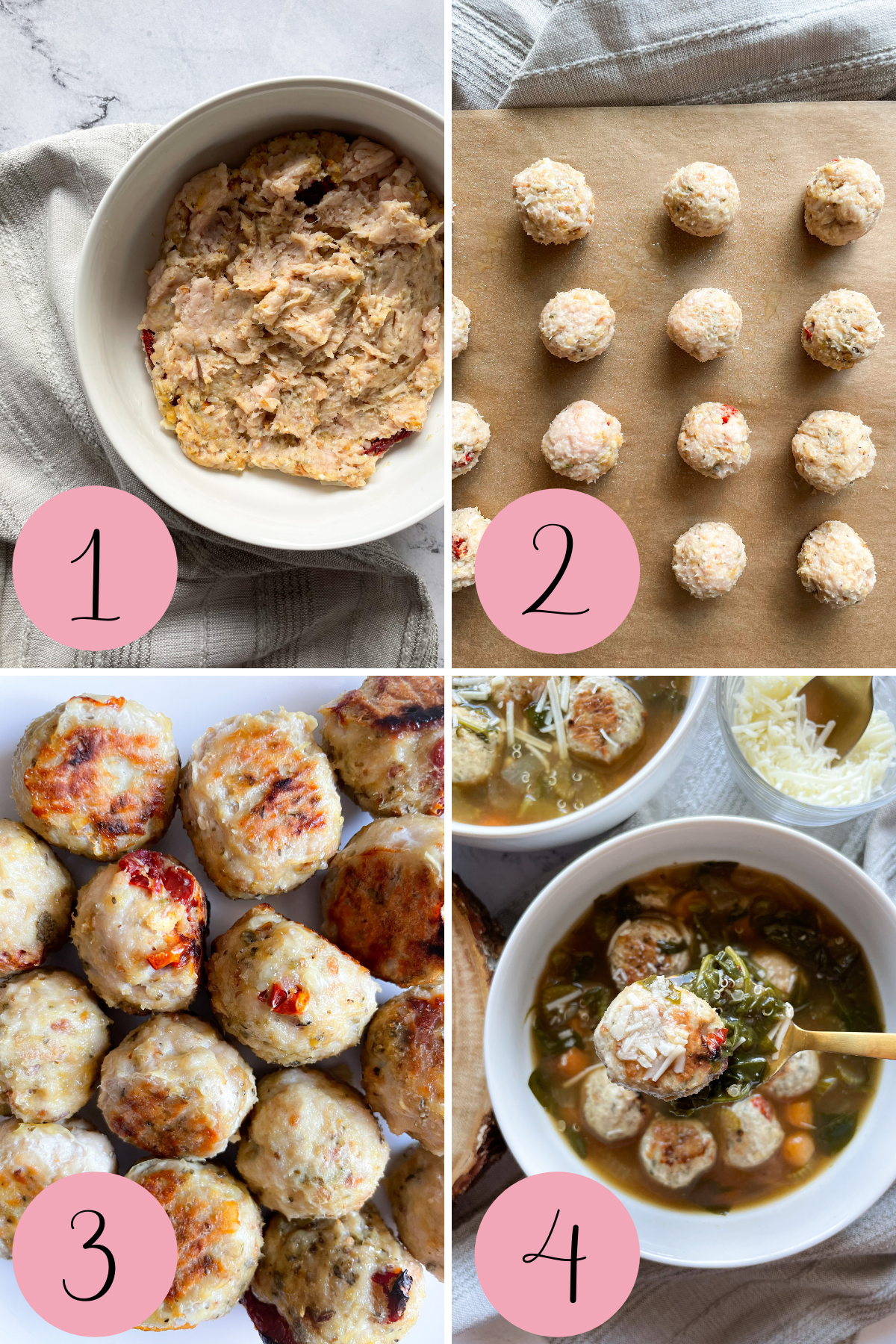 4 step how to make Italian wedding soup