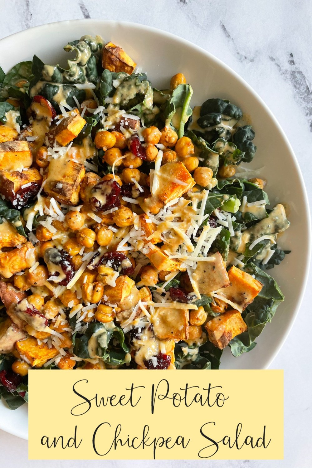 Sweet Potato and Chickpea Salad on White Plate with Text Overlay