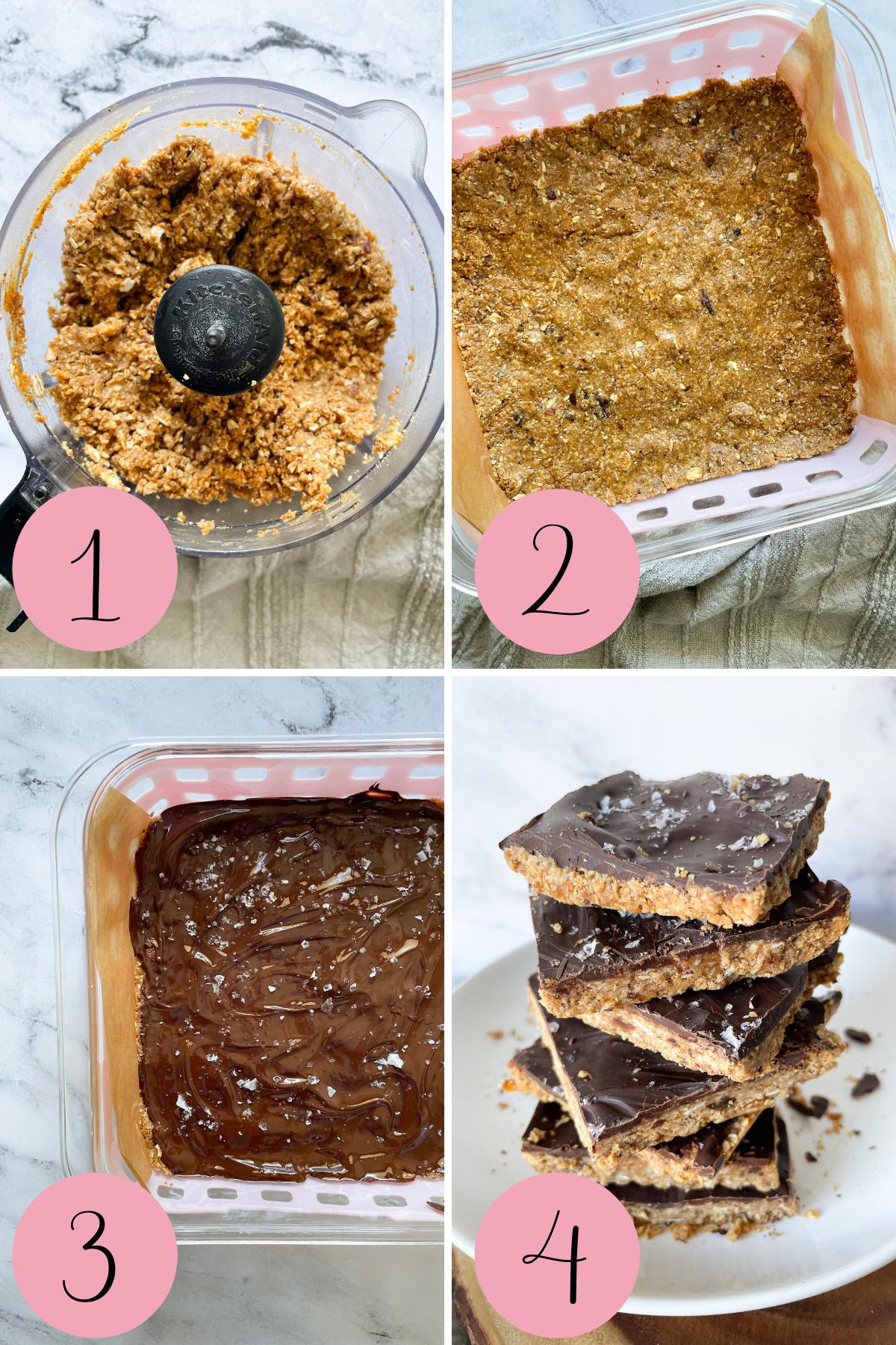 4 step process how to make chocolate peanut butter oatmeal bars