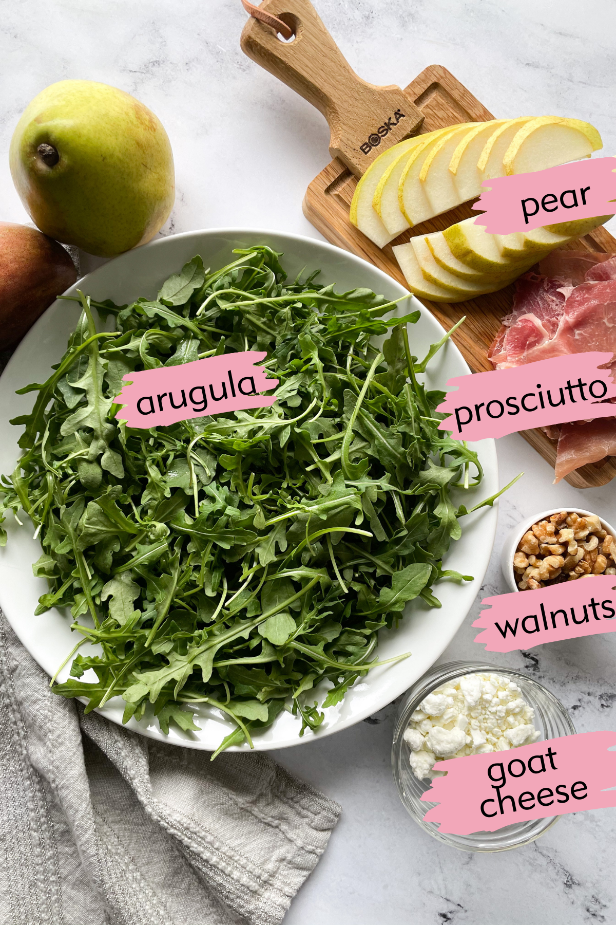 labeled ingredients for Pear and Prosciutto Salad
