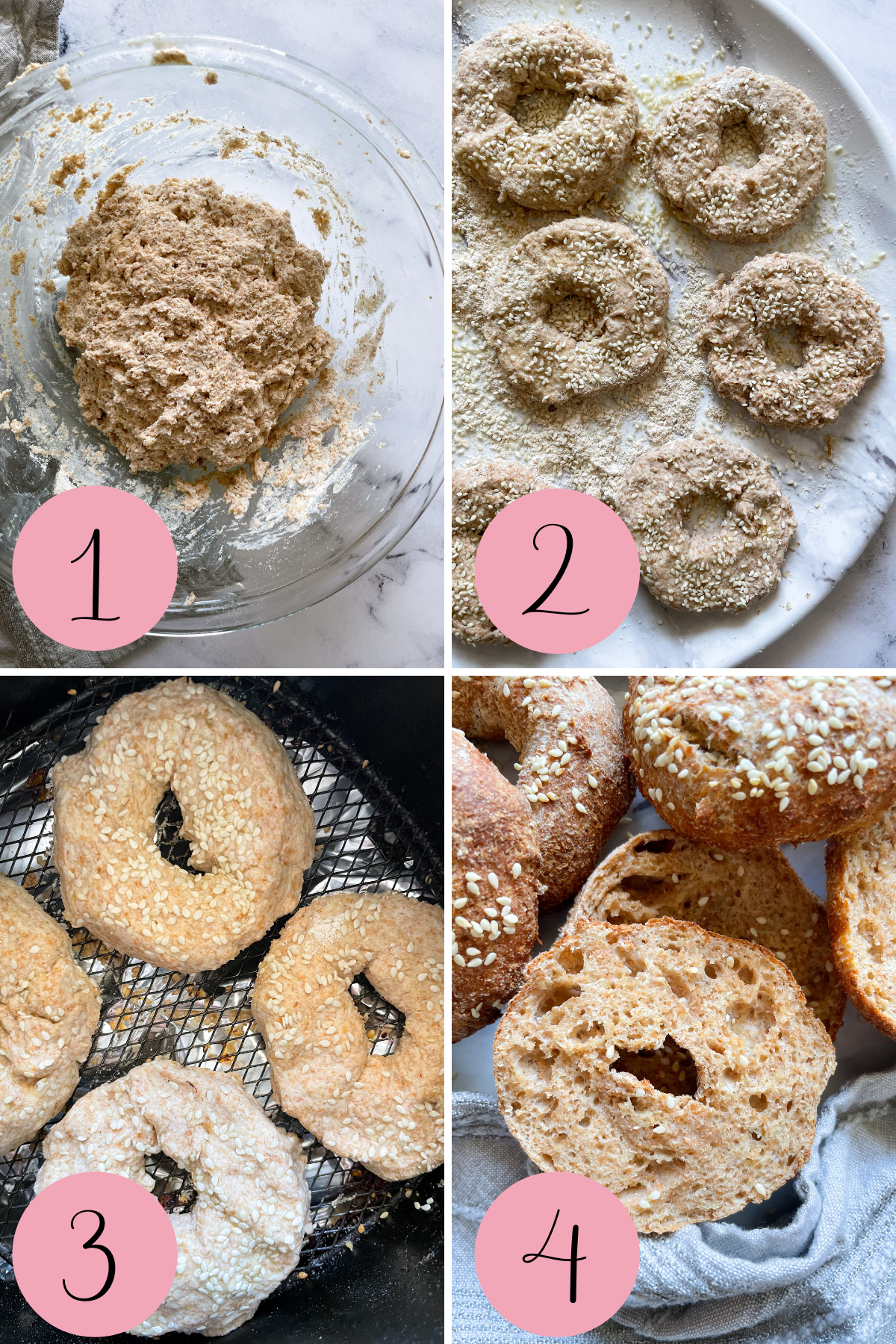 4 step process of how to make air fryer bagels