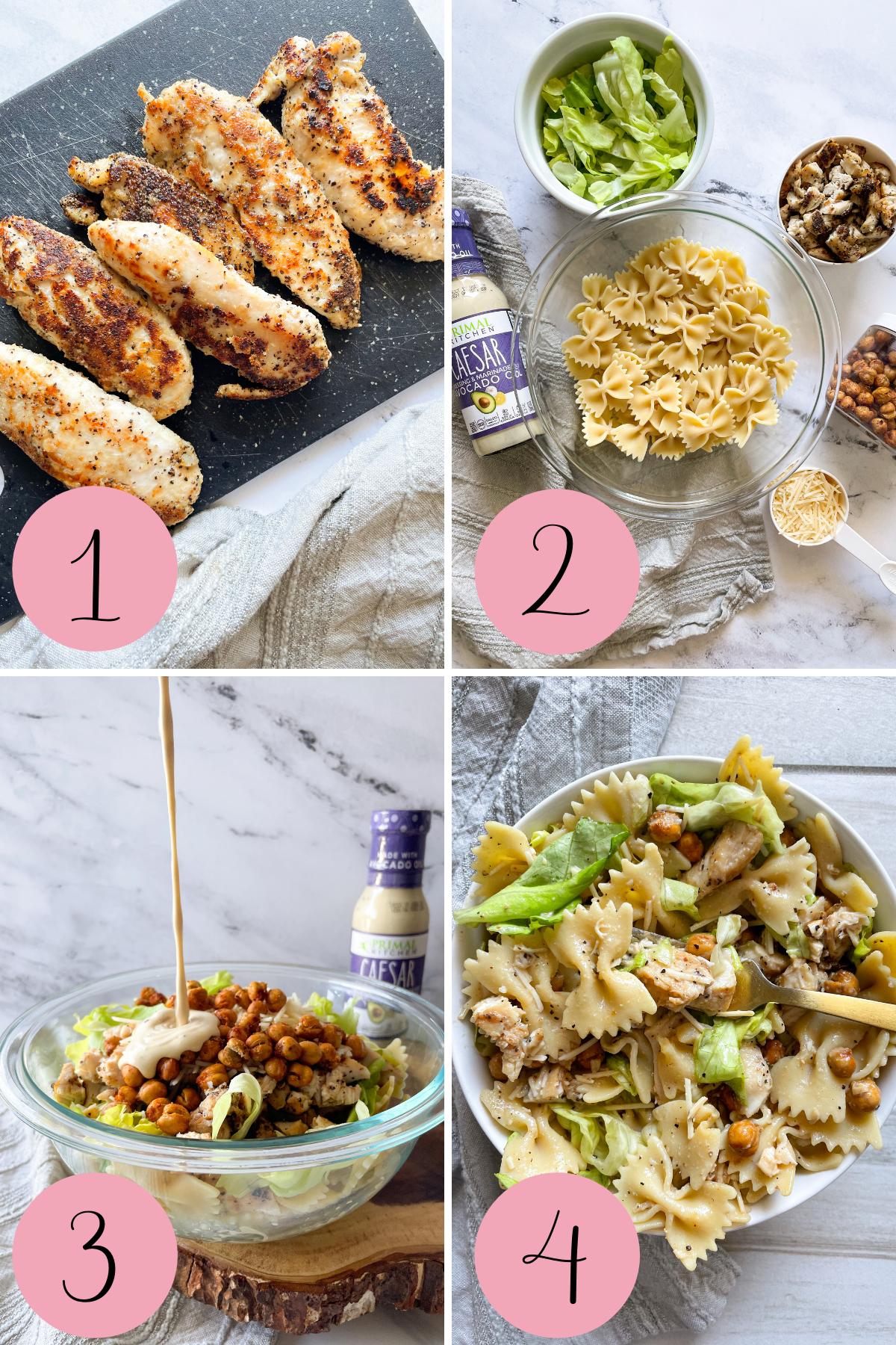 4 step process how to make chicken caesar pasta salad