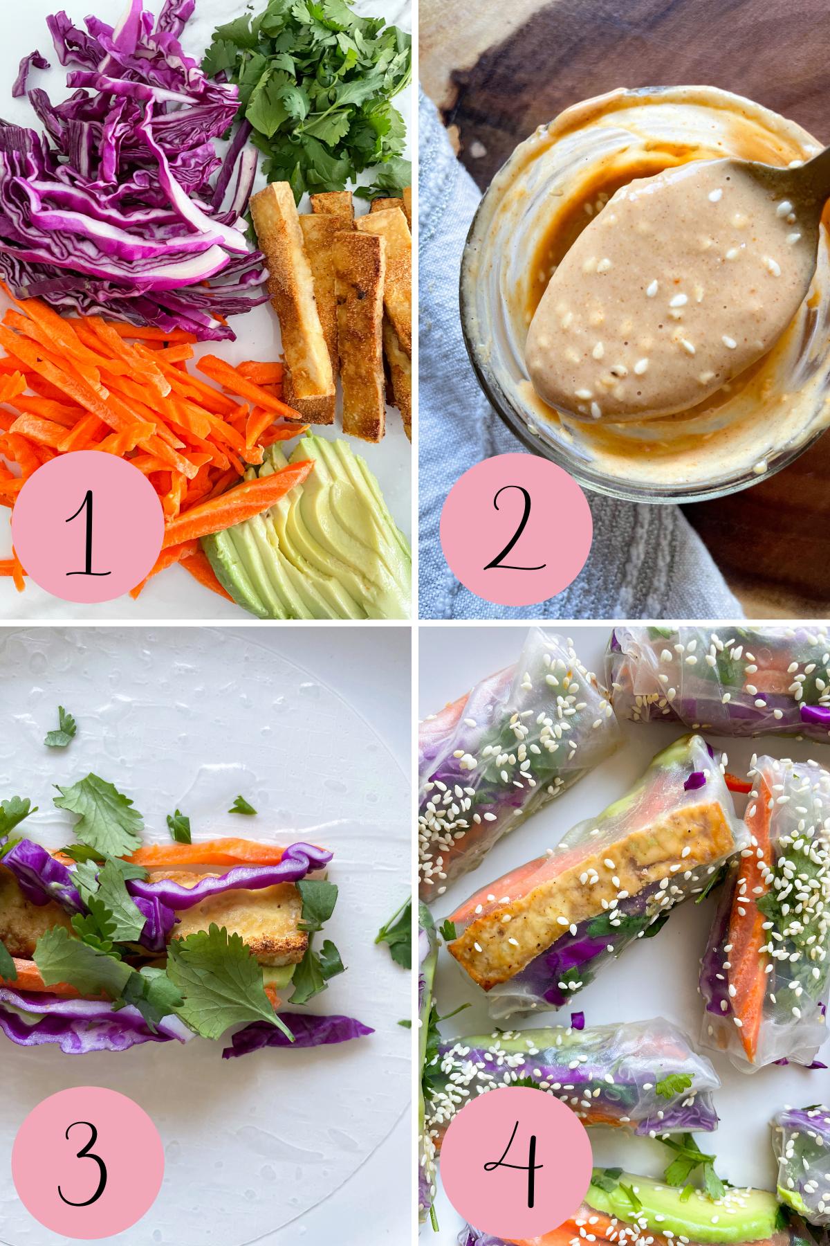 4 step process how to make tofu summer rolls