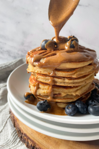 pancakes with almond butter and blueberries on top