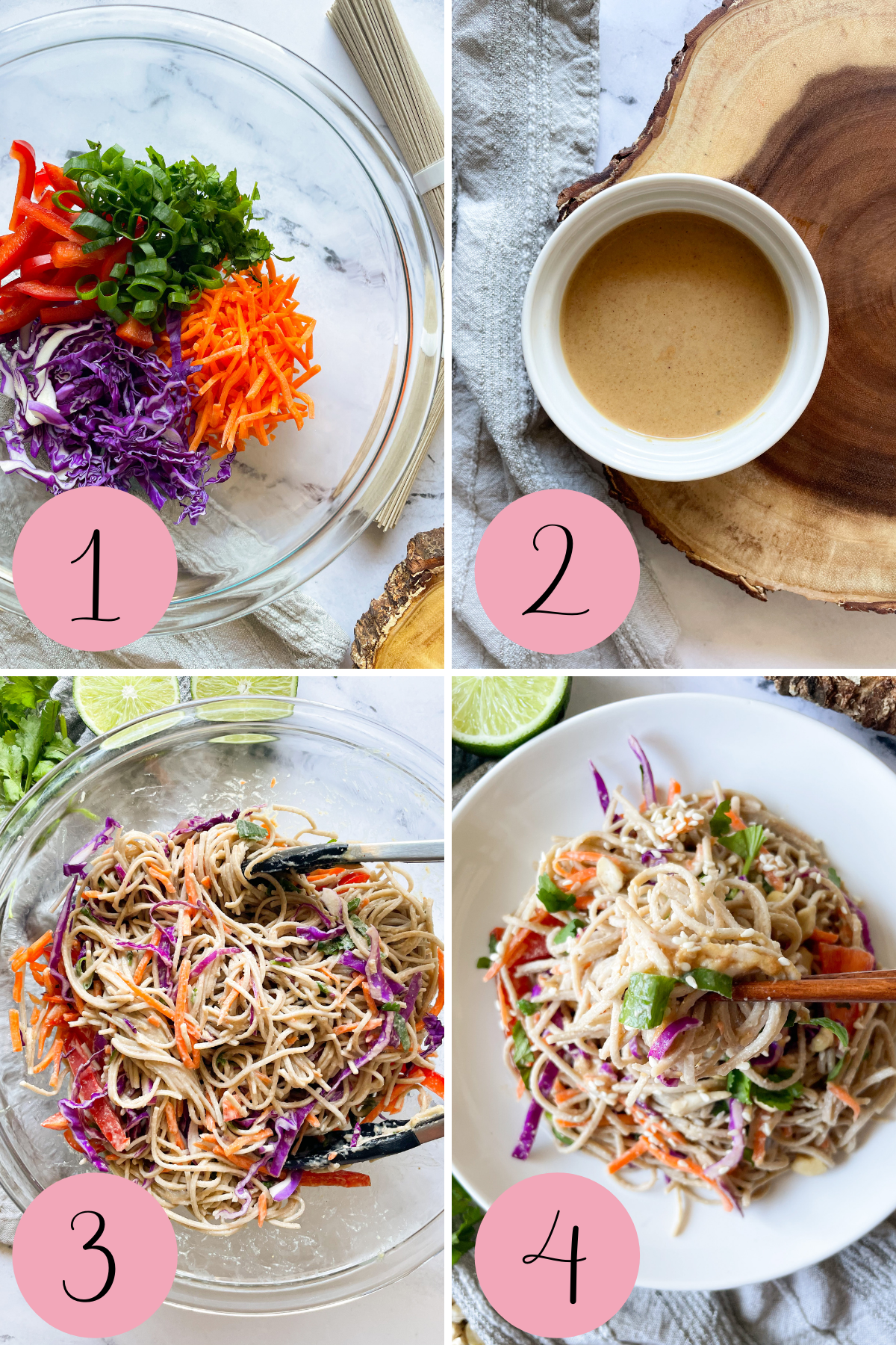 4 photos to show how to make vegetarian soba noodle salad