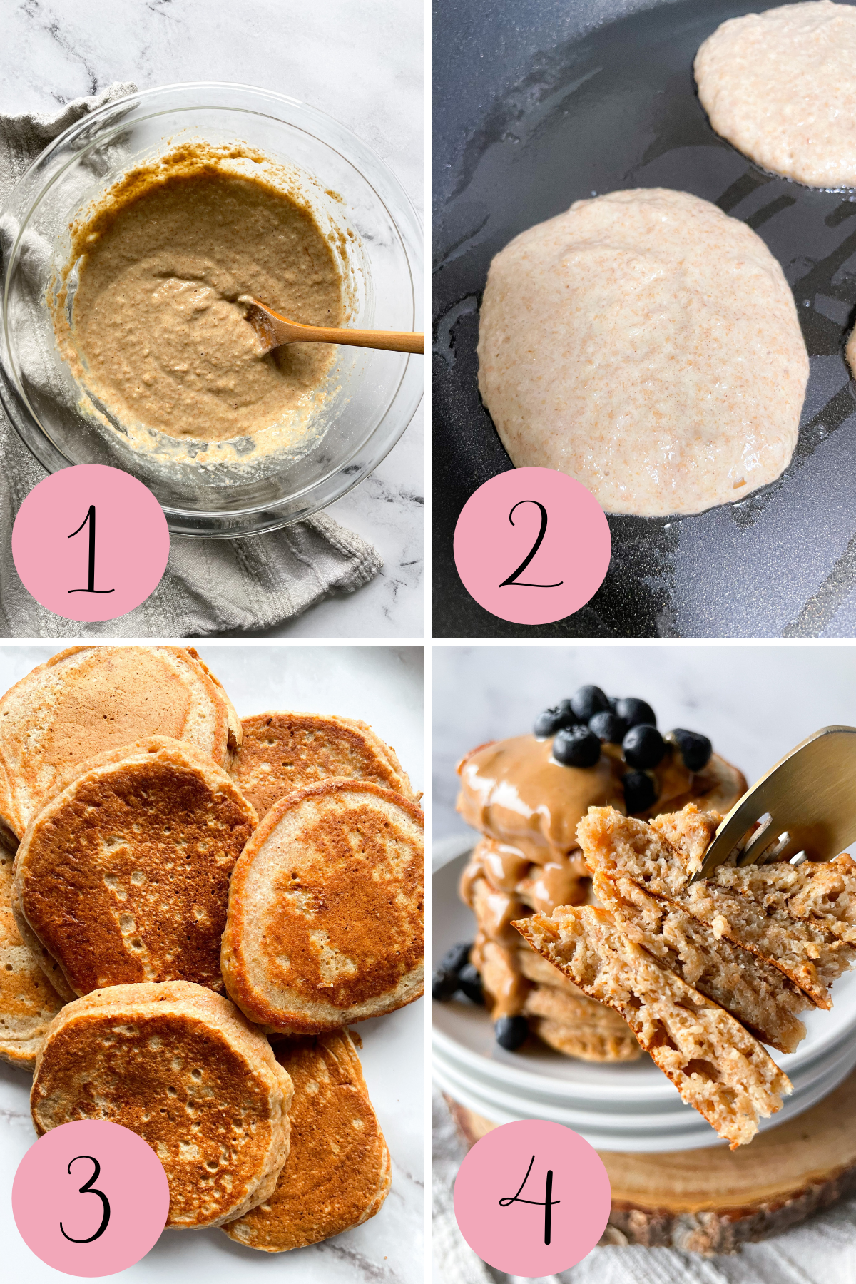 4 step process how to make whole wheat applesauce pancakes