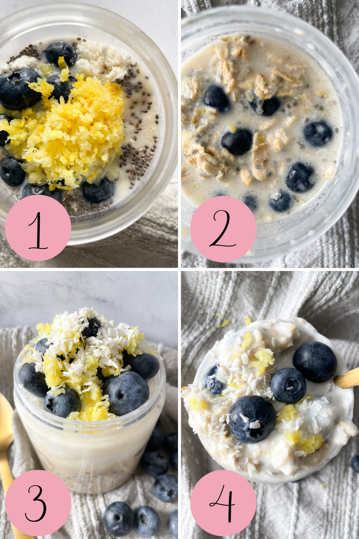 4 step process photos how to make blueberry lemon overnight oats