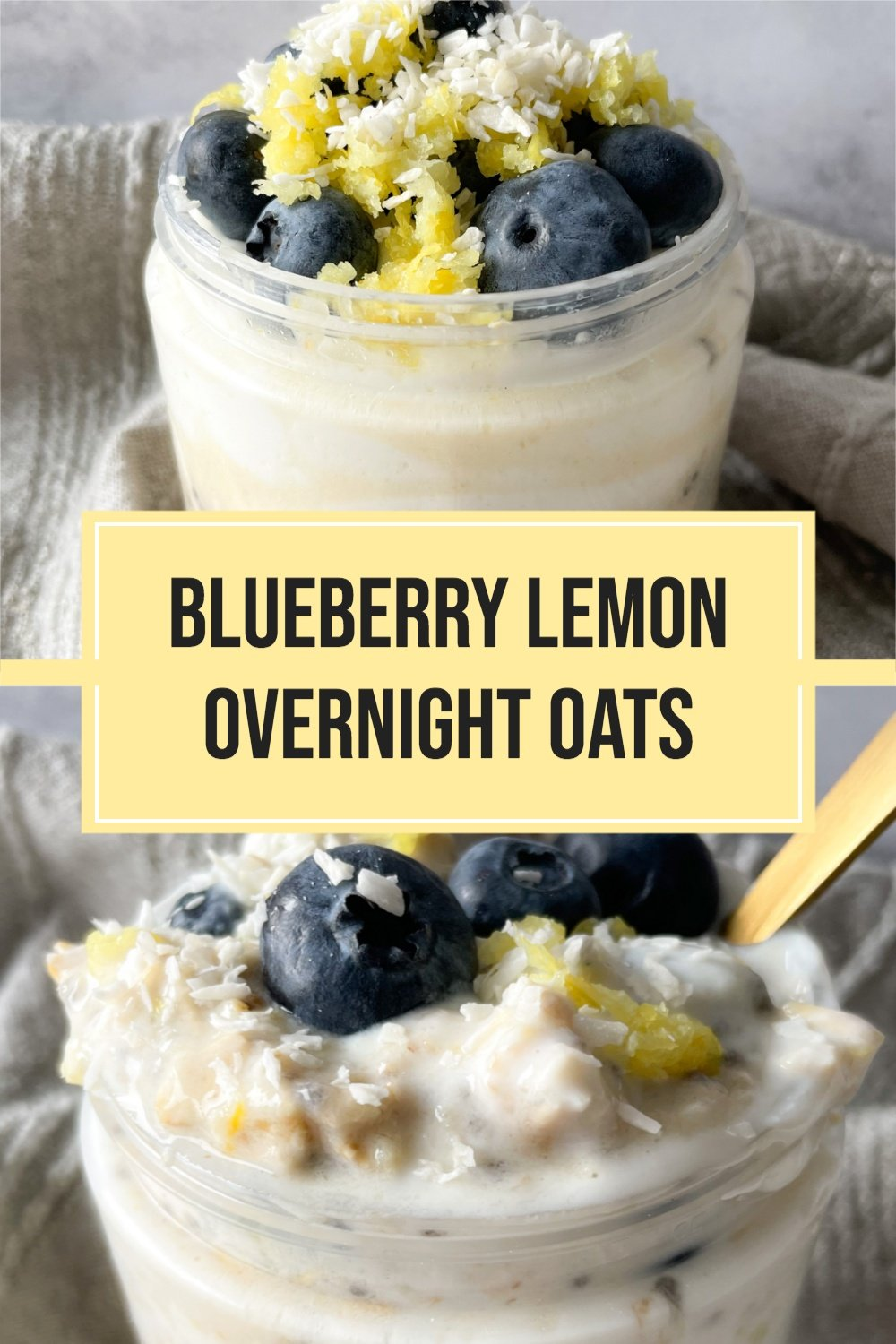 2 photos of overnight oats with text overlay