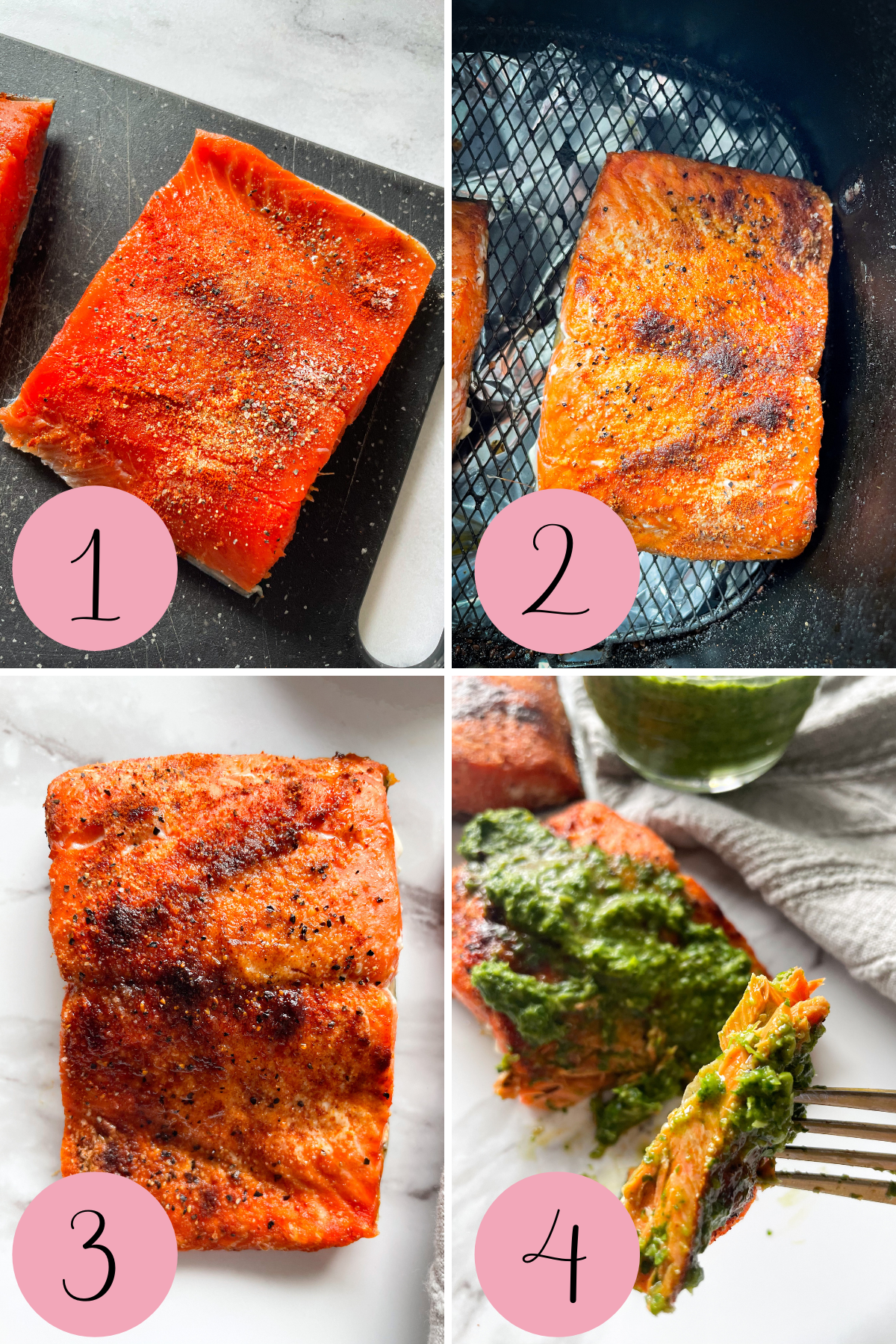 4 step process how to make air fryer salmon