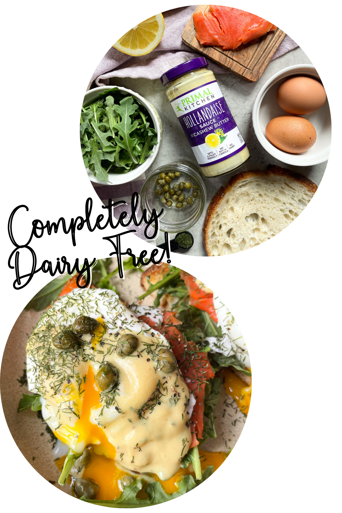 ingredients for dairy free eggs benedict and close up of finished recipe