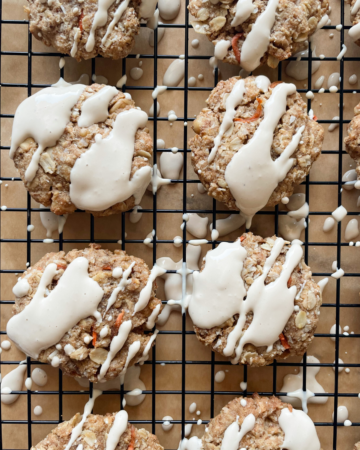carrot cake cookies on wire rack