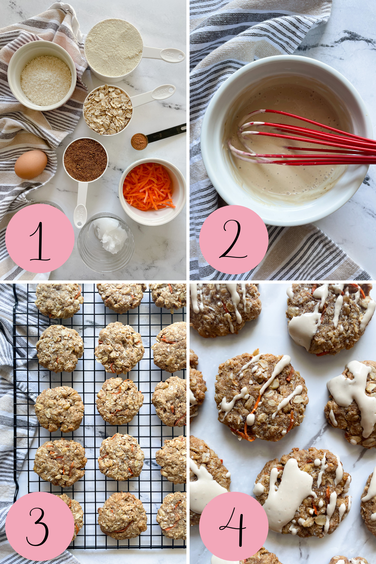 4 step process how to make carrot cake cookies