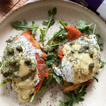 Lox Benedict on a plate with Dairy Free Hollandaise