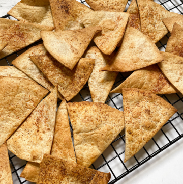 homemade tortilla chips on cooling rack