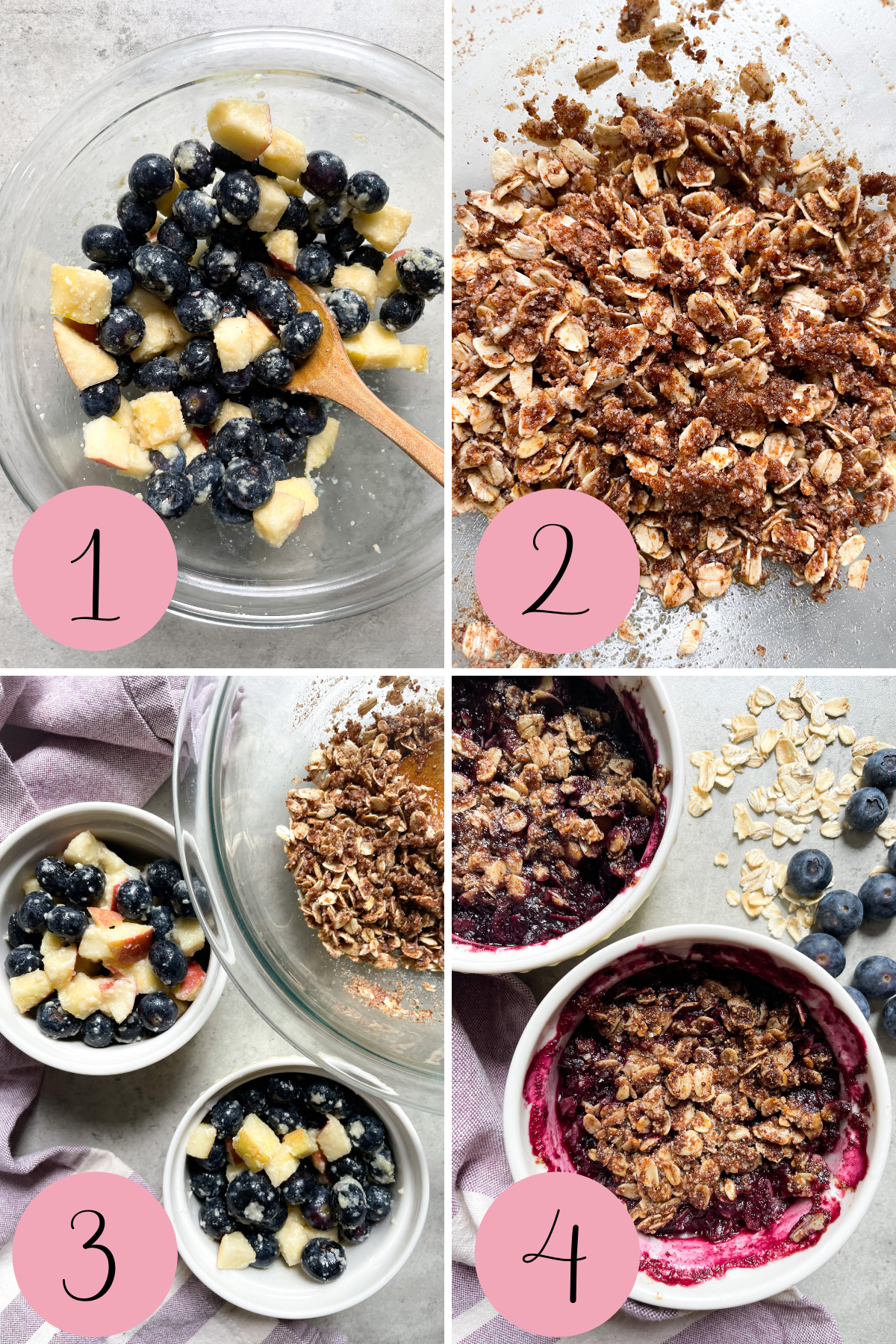 4 step process how to make healthy blueberry crisp