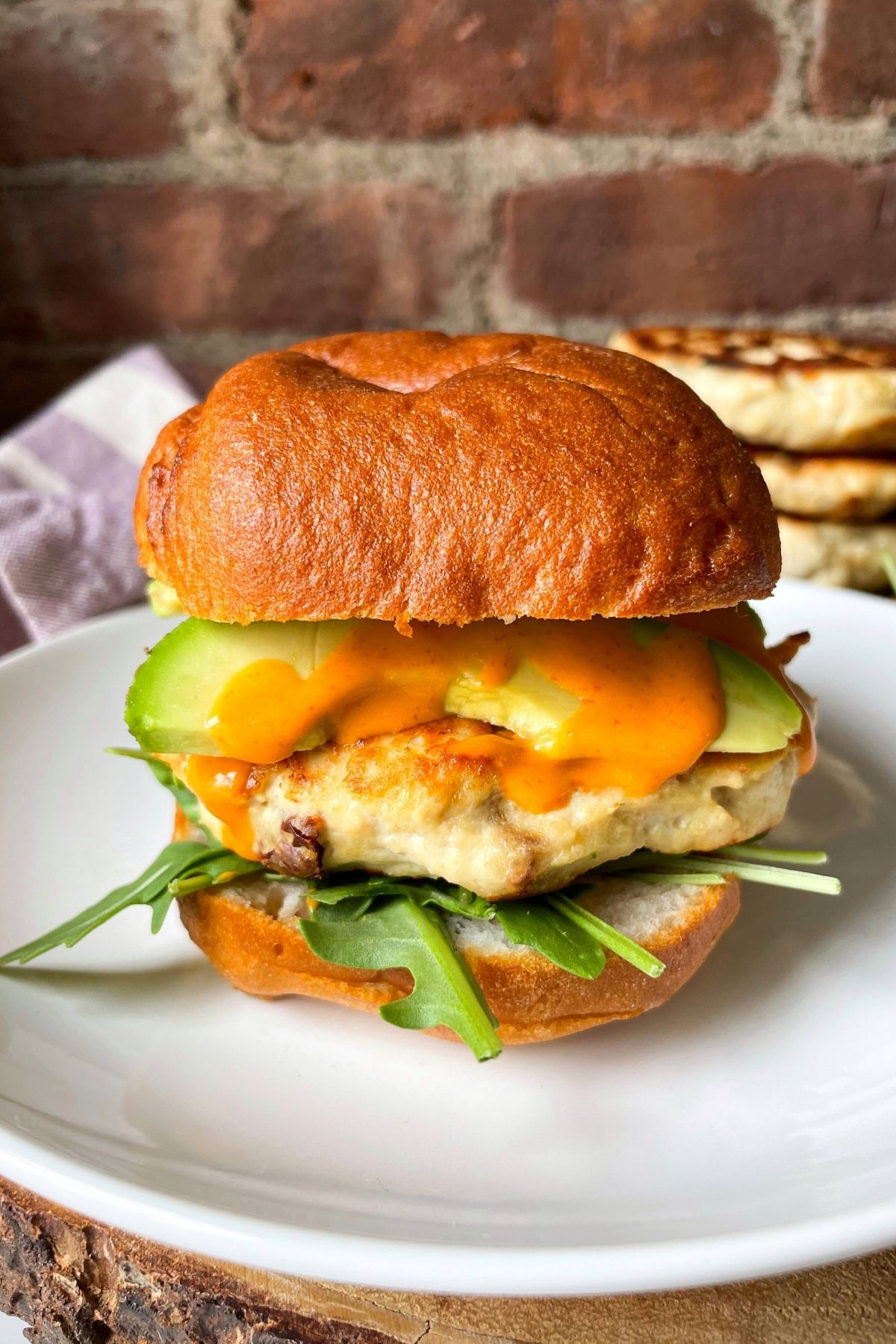 plate with chicken burger